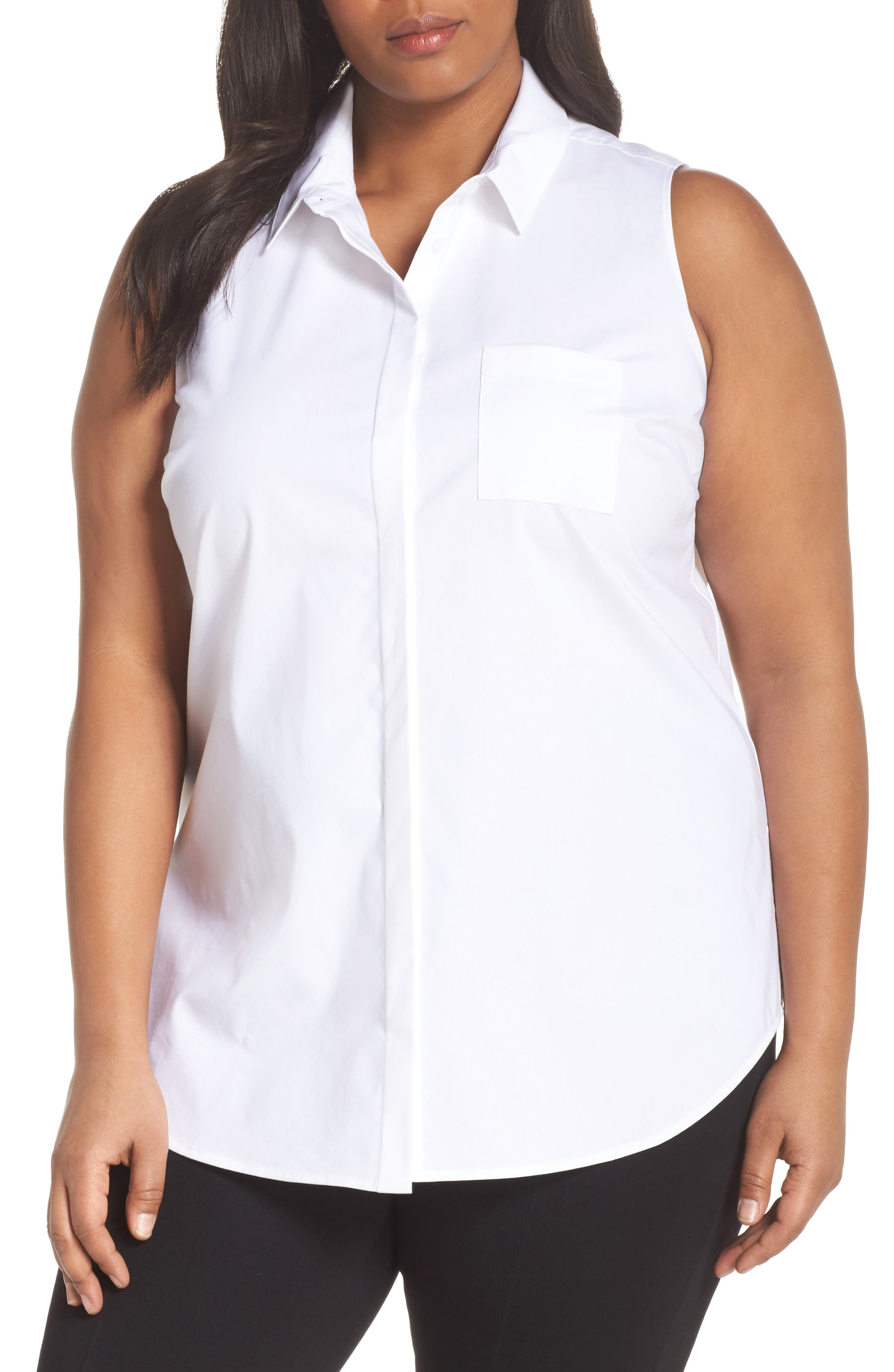 Sleeveless Button Front Top,                         Main,                         color, WHITE