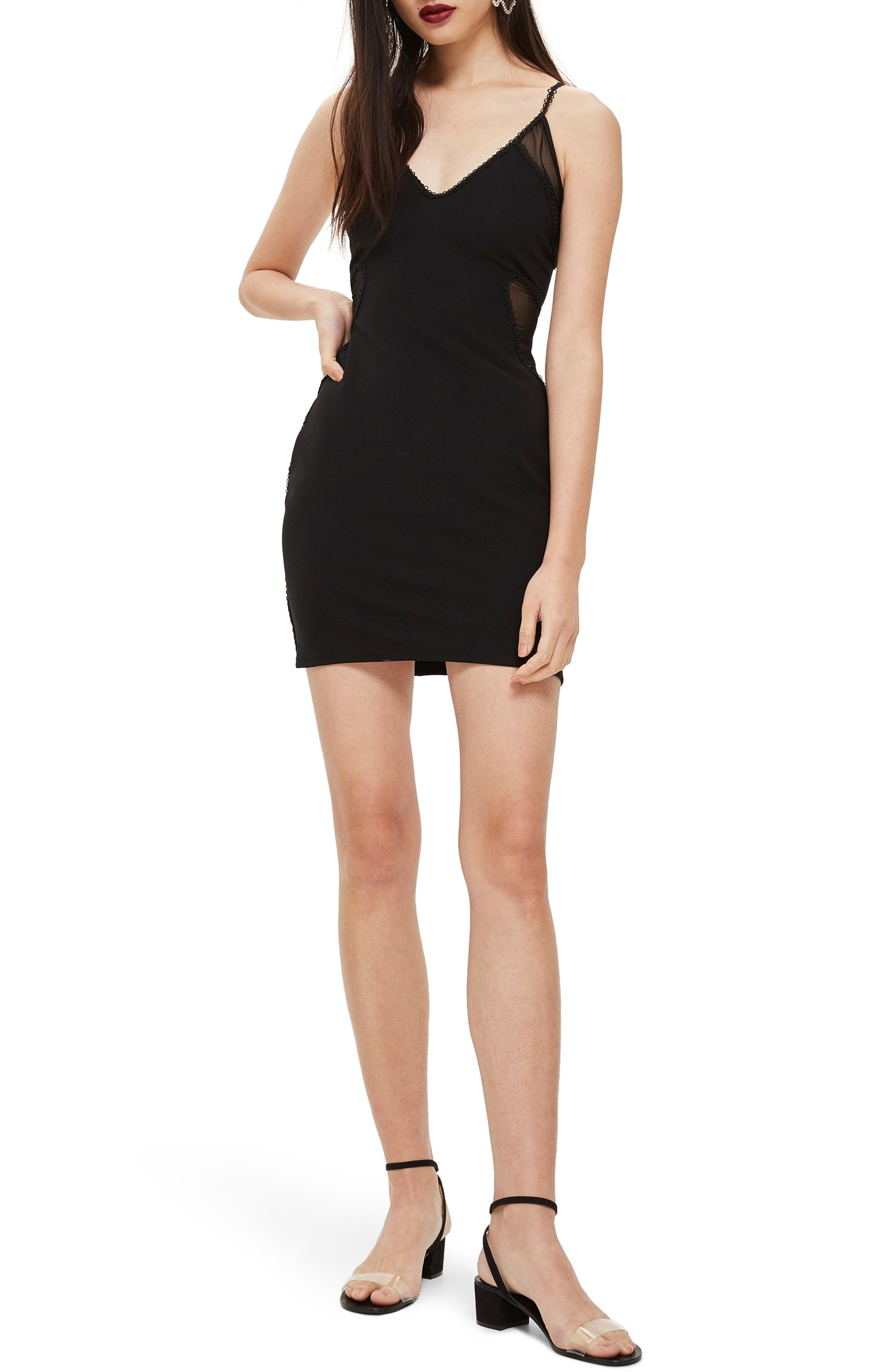 Topshop Mesh Inset Body-Con Dress