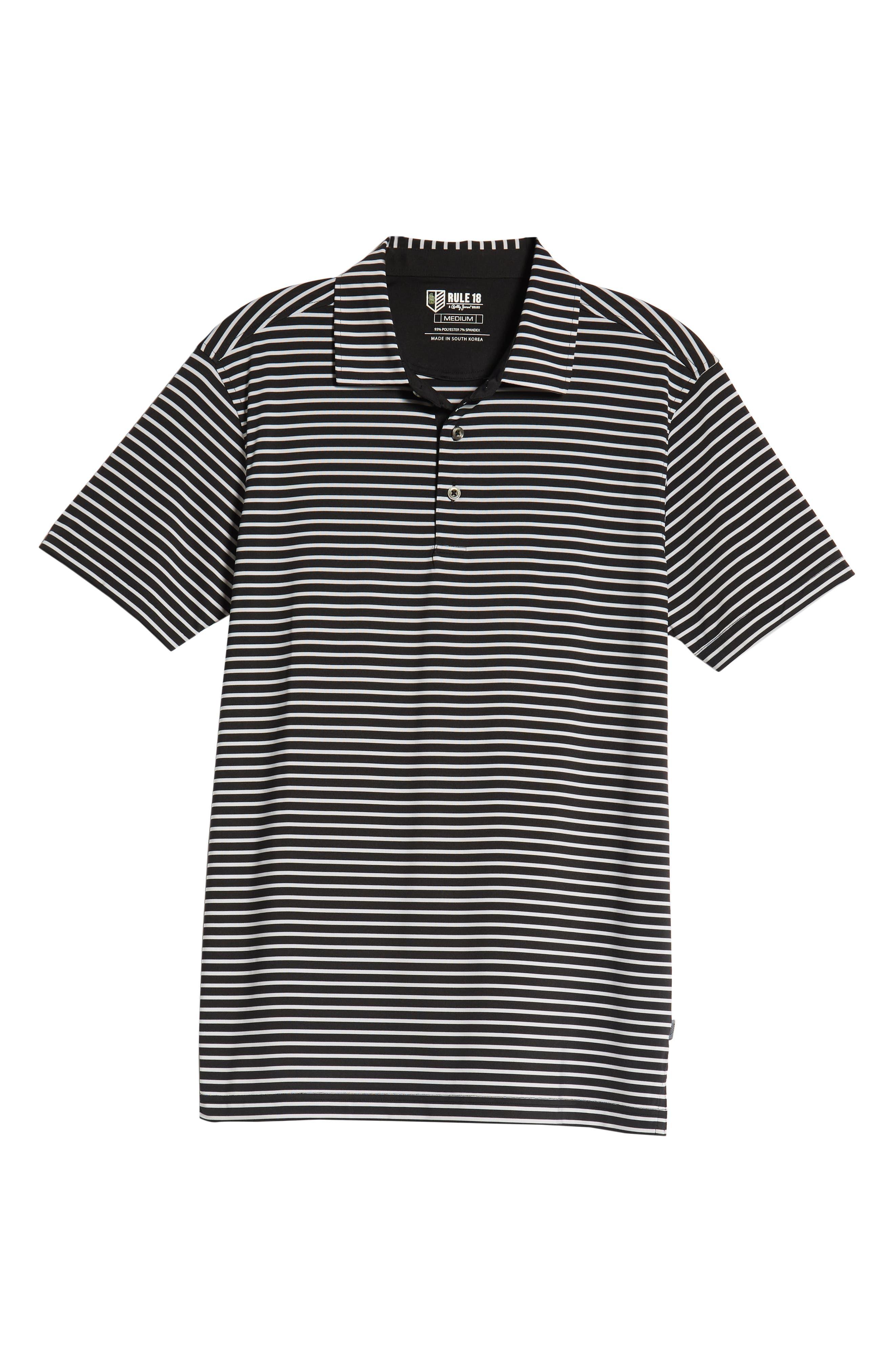Control Stripe Jersey Polo,                             Alternate thumbnail 6, color,                             BLACK