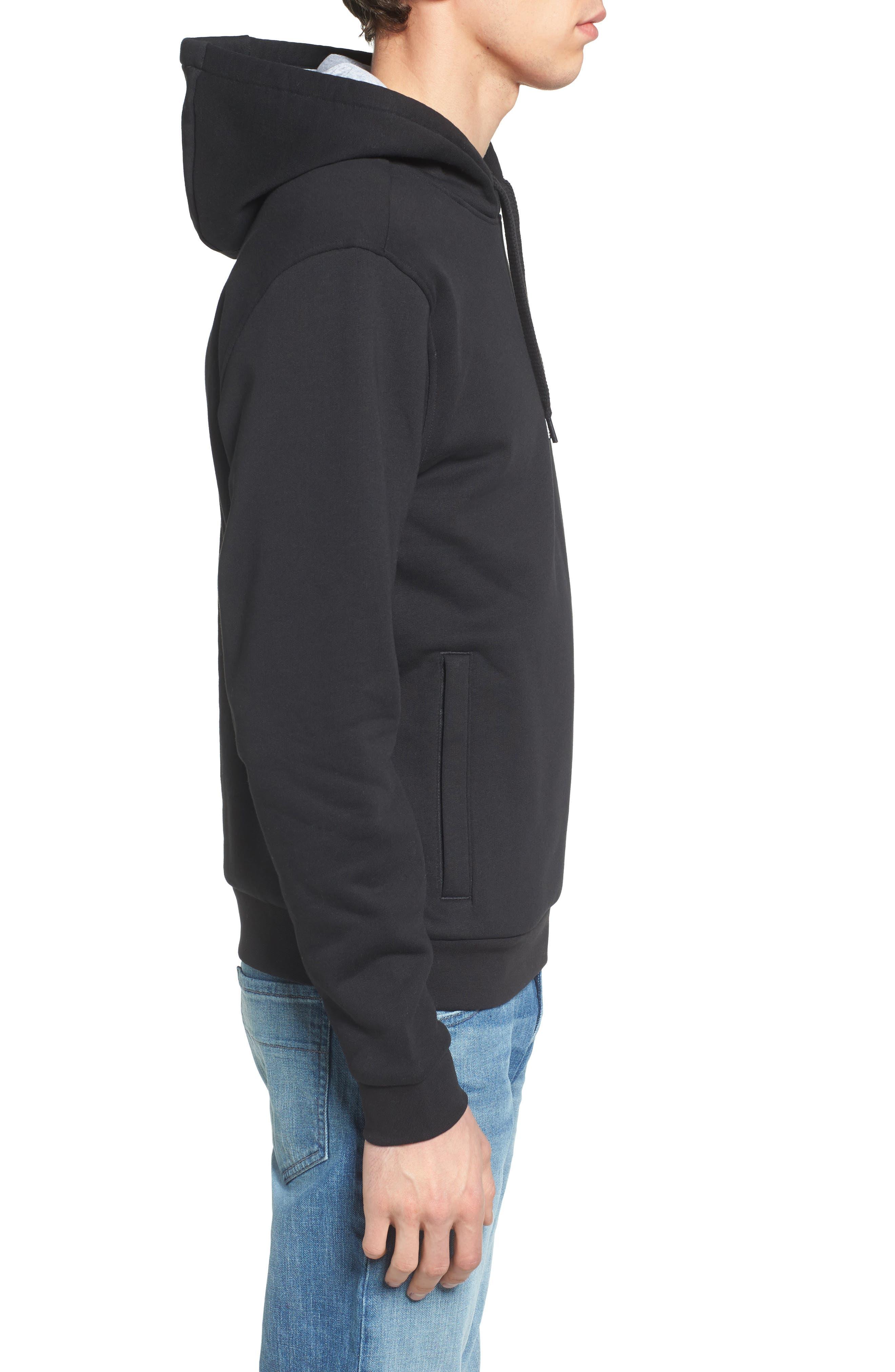 Sport Cotton Blend Hoodie,                             Alternate thumbnail 3, color,                             BLACK/ SILVER CHINE