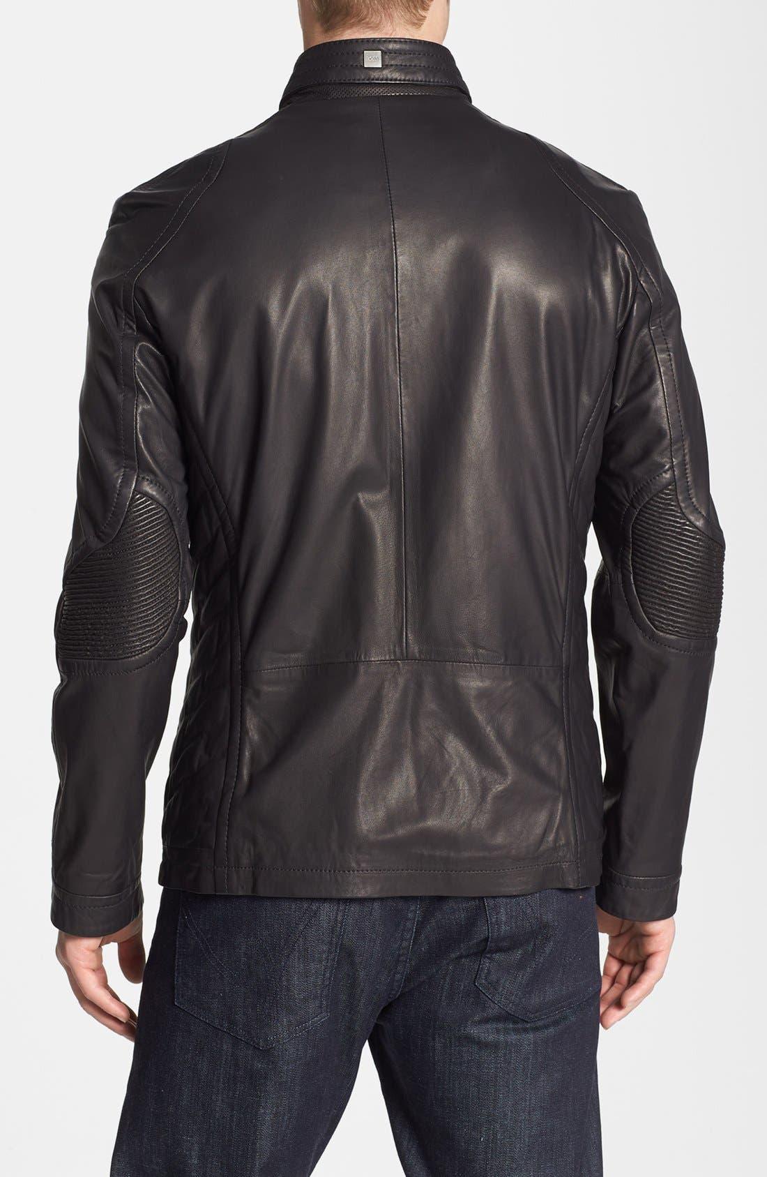 BOSS,                             HUGO BOSS 'McLaren - Nivelles' Leather Jacket,                             Alternate thumbnail 2, color,                             001