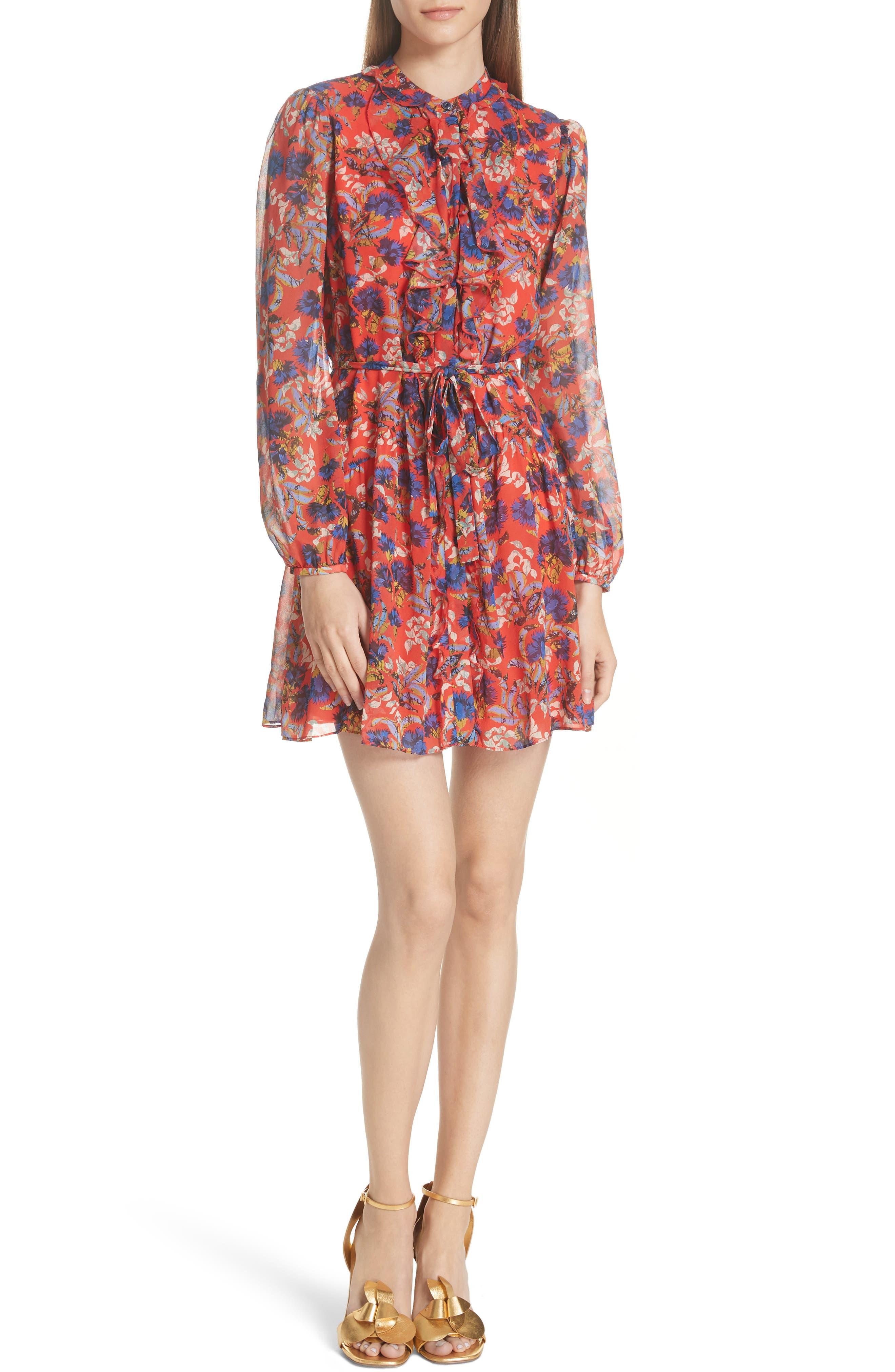 Tilly Ruffle Bib Silk Dress,                             Main thumbnail 1, color,                             FLAME AZALEA