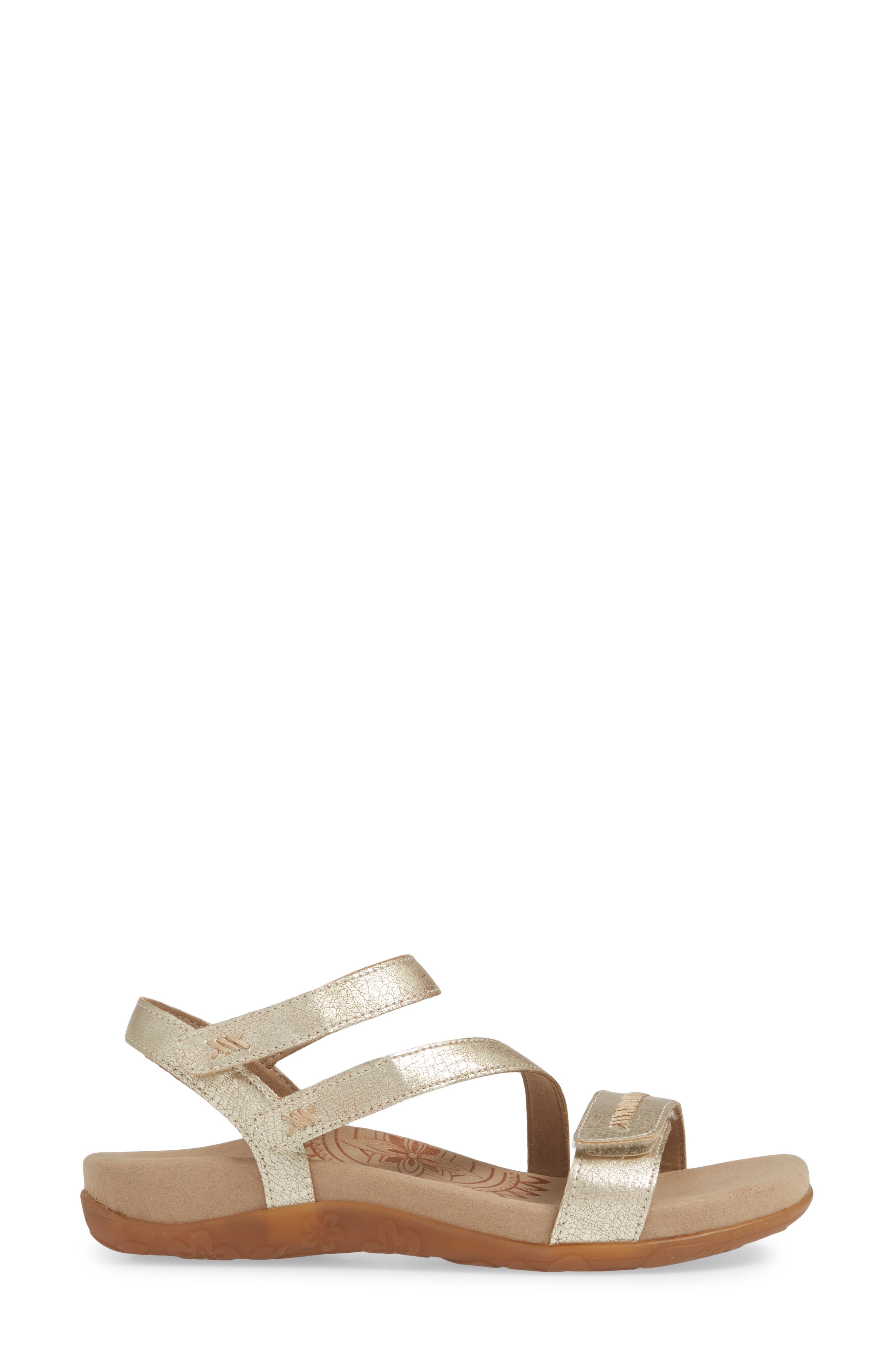 AETREX,                             Gabby Sandal,                             Alternate thumbnail 3, color,                             GOLD LEATHER