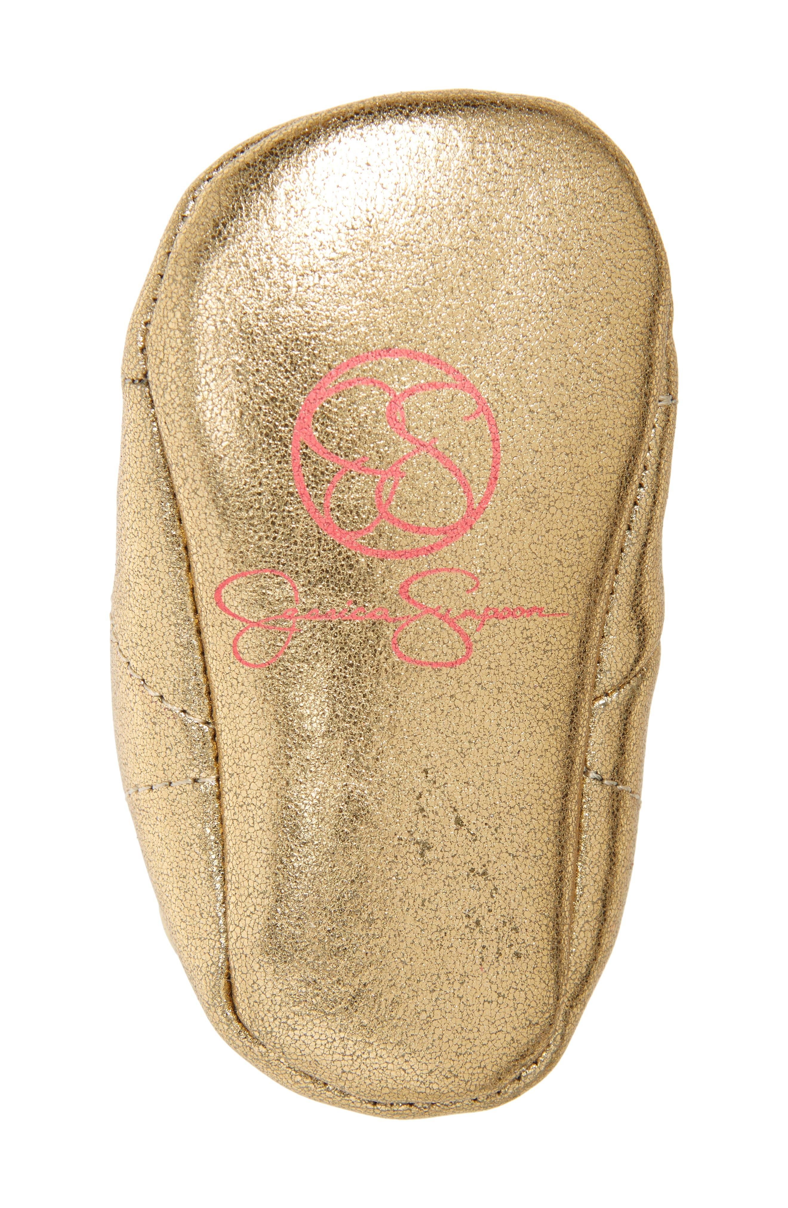 Faux Fur Metallic Crib Sneaker,                             Alternate thumbnail 6, color,                             GOLD CRACKLE METALLIC