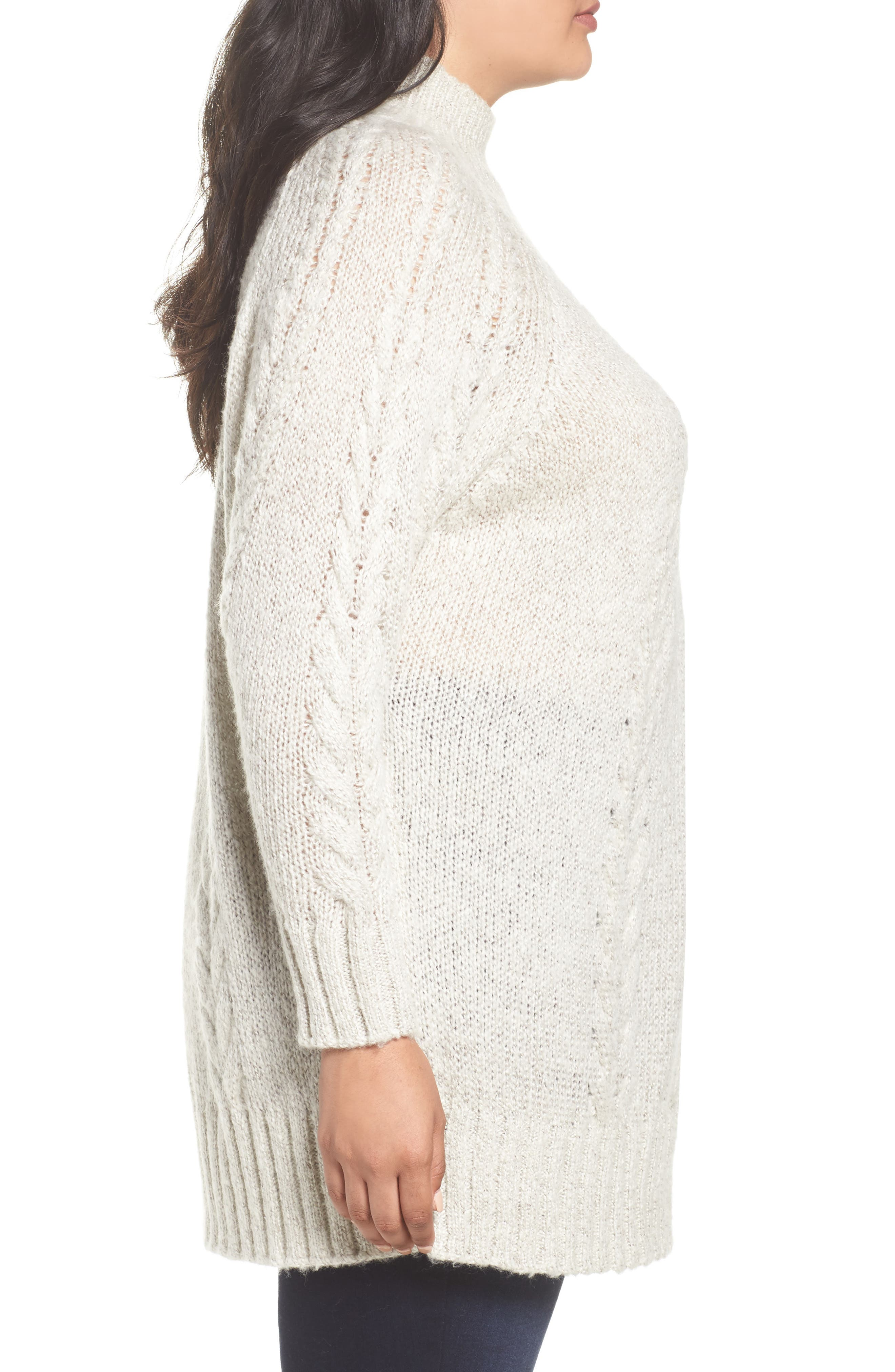 Cable Knit Tunic Sweater,                             Alternate thumbnail 3, color,                             BEIGE OATMEAL LIGHT HEATHER