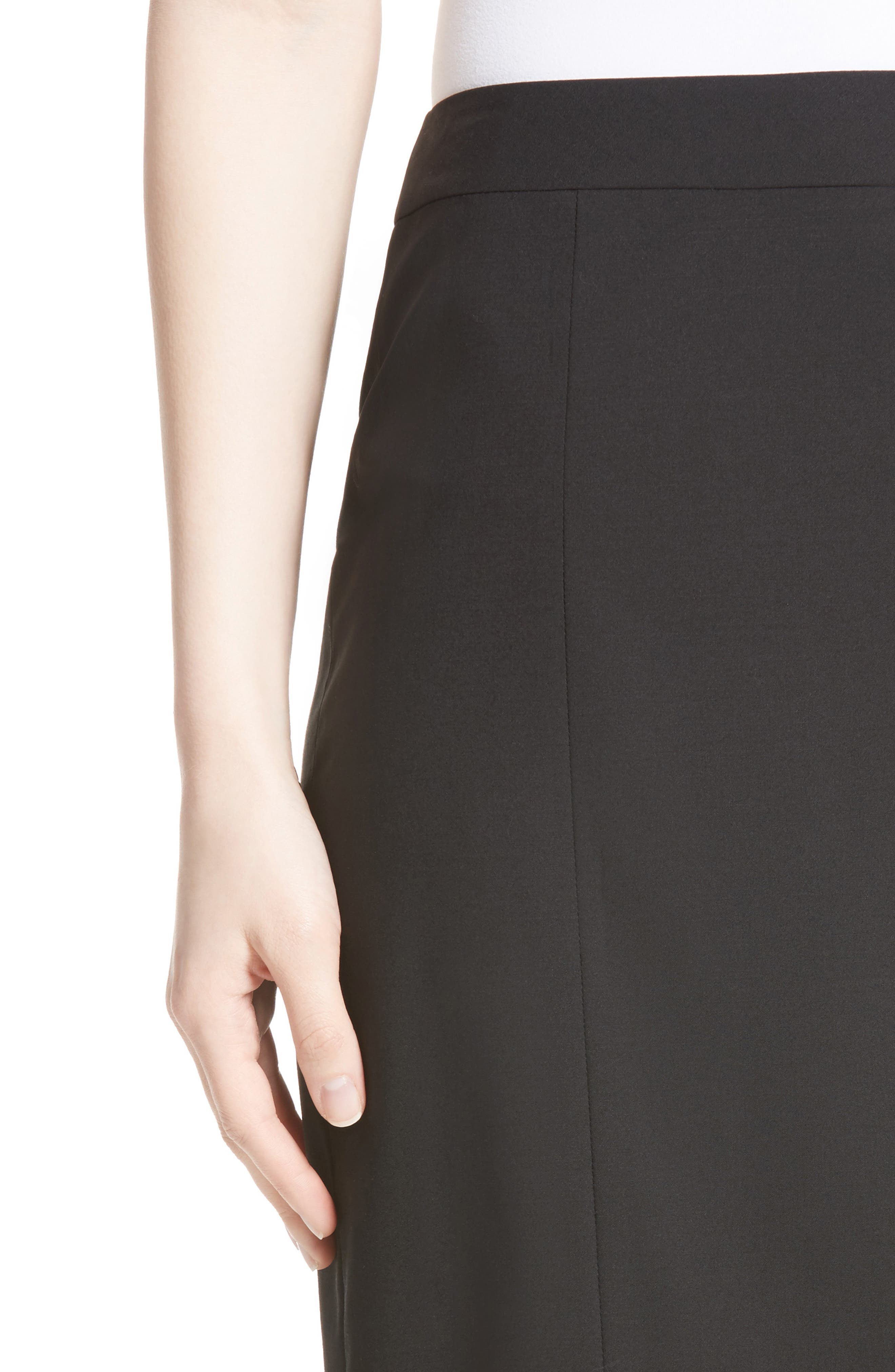 Stretch Wool Pencil Skirt,                             Alternate thumbnail 5, color,                             BLACK