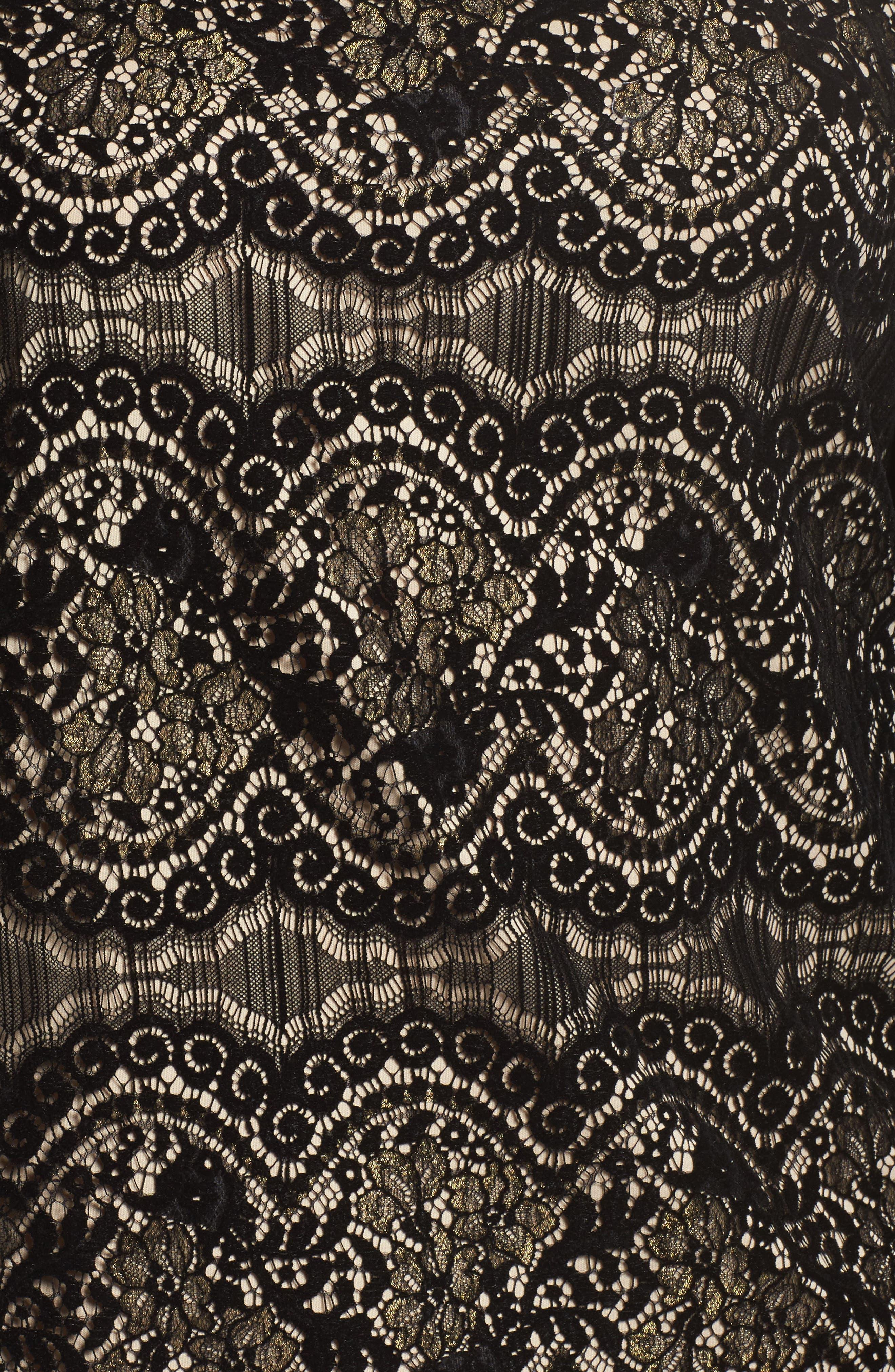 Flocked Lace Shift Dress,                             Alternate thumbnail 5, color,