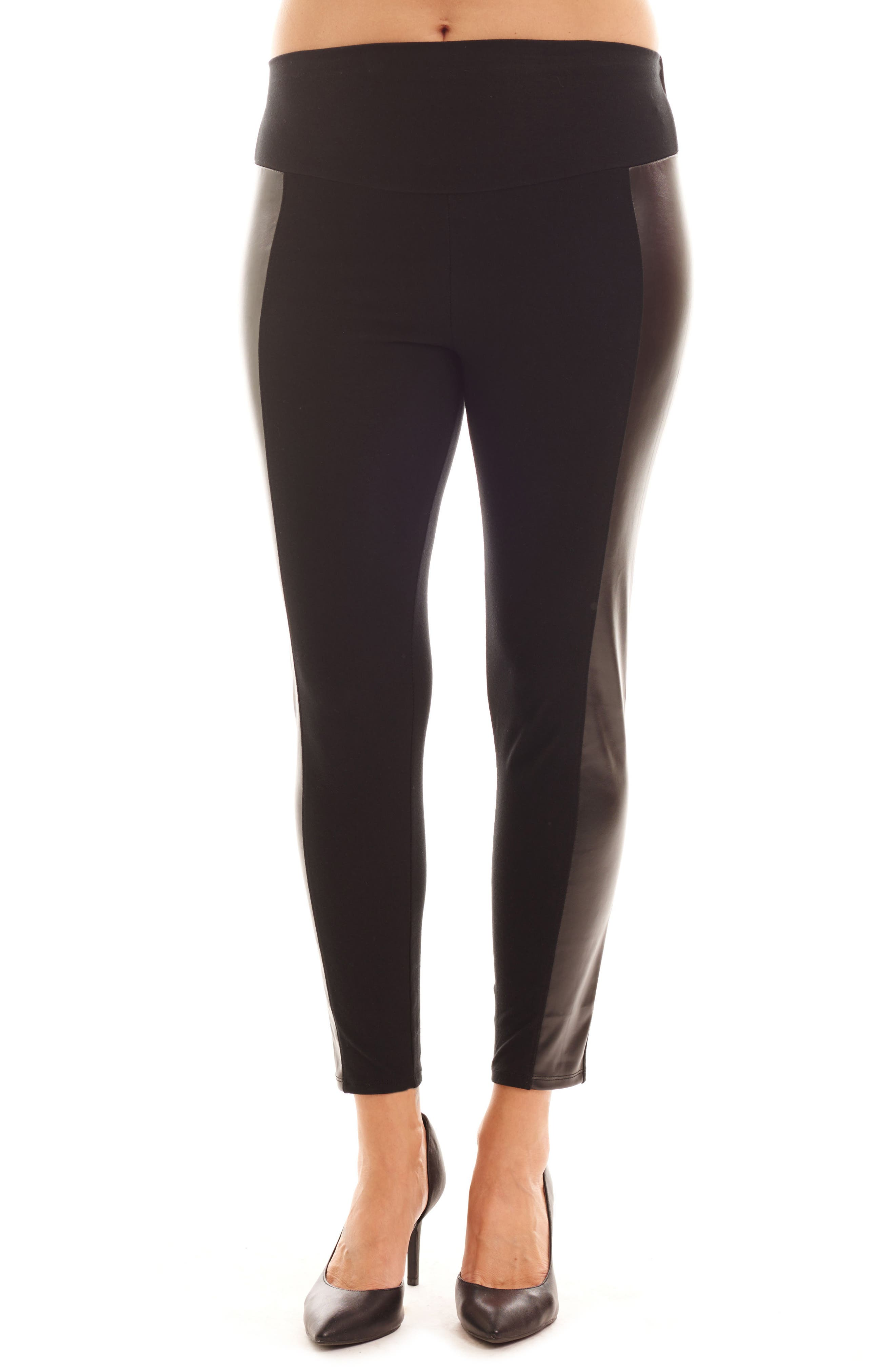 Ella Faux Leather & Knit Maternity Leggings,                         Main,                         color, 001