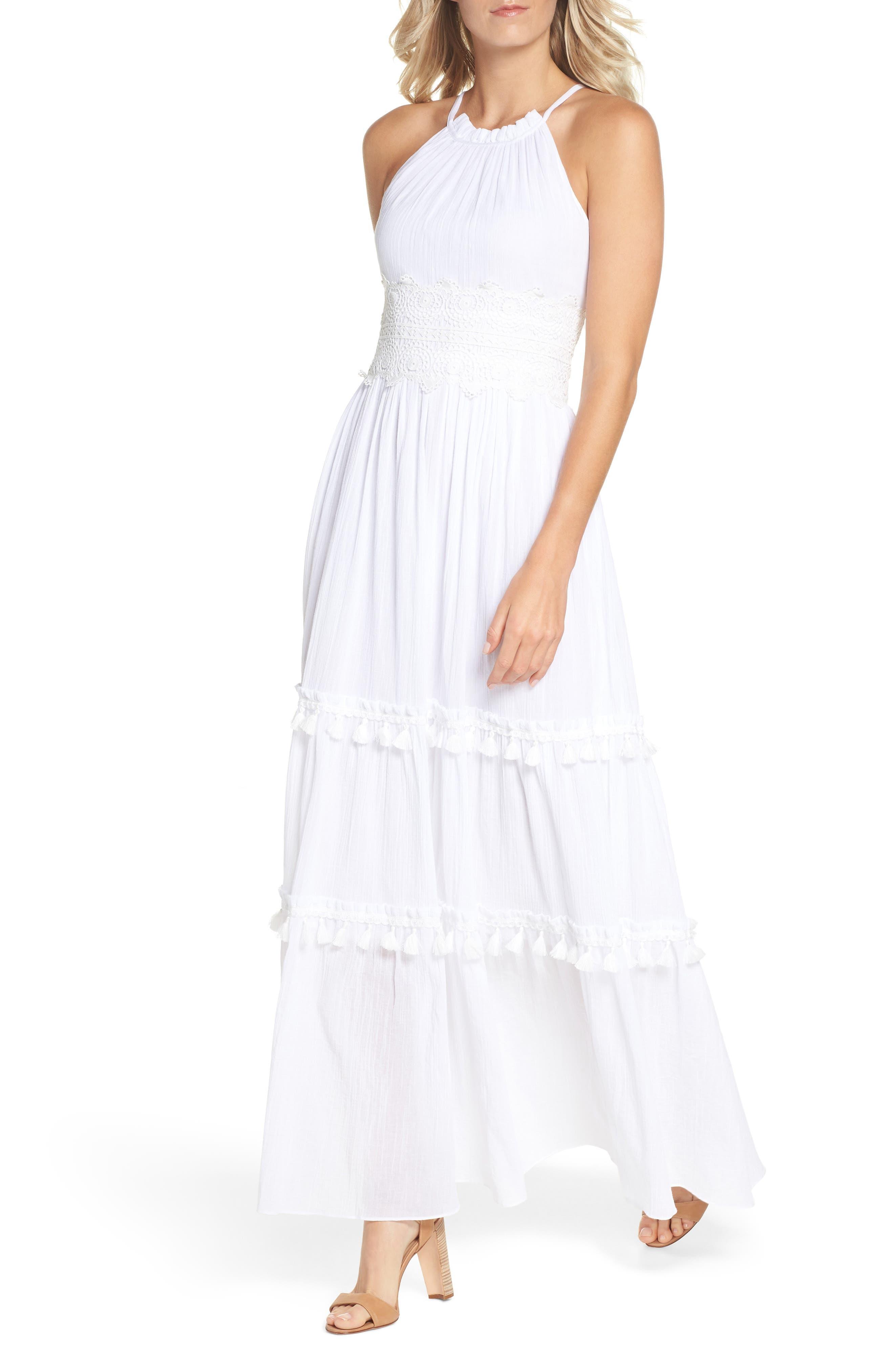 Halter Neck Cotton Maxi Dress,                         Main,                         color, IVORY