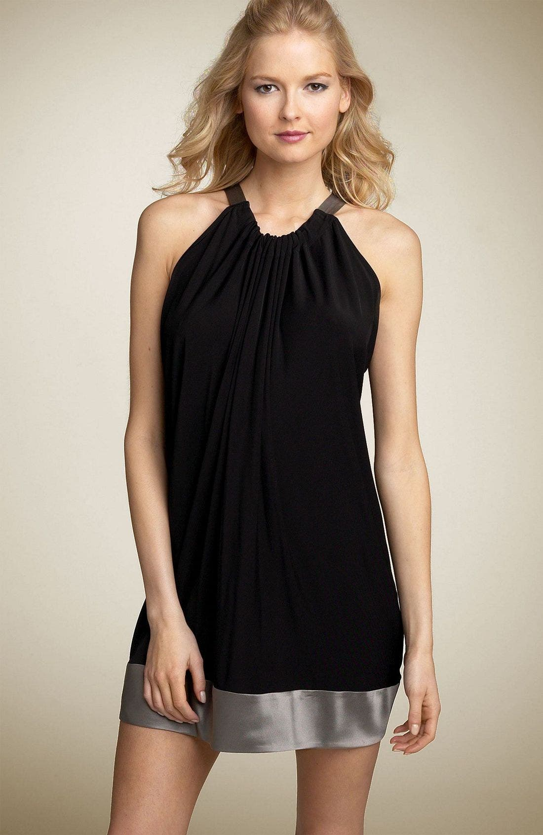Charmeuse Trim Halter Tunic Dress, Main, color, ZBP