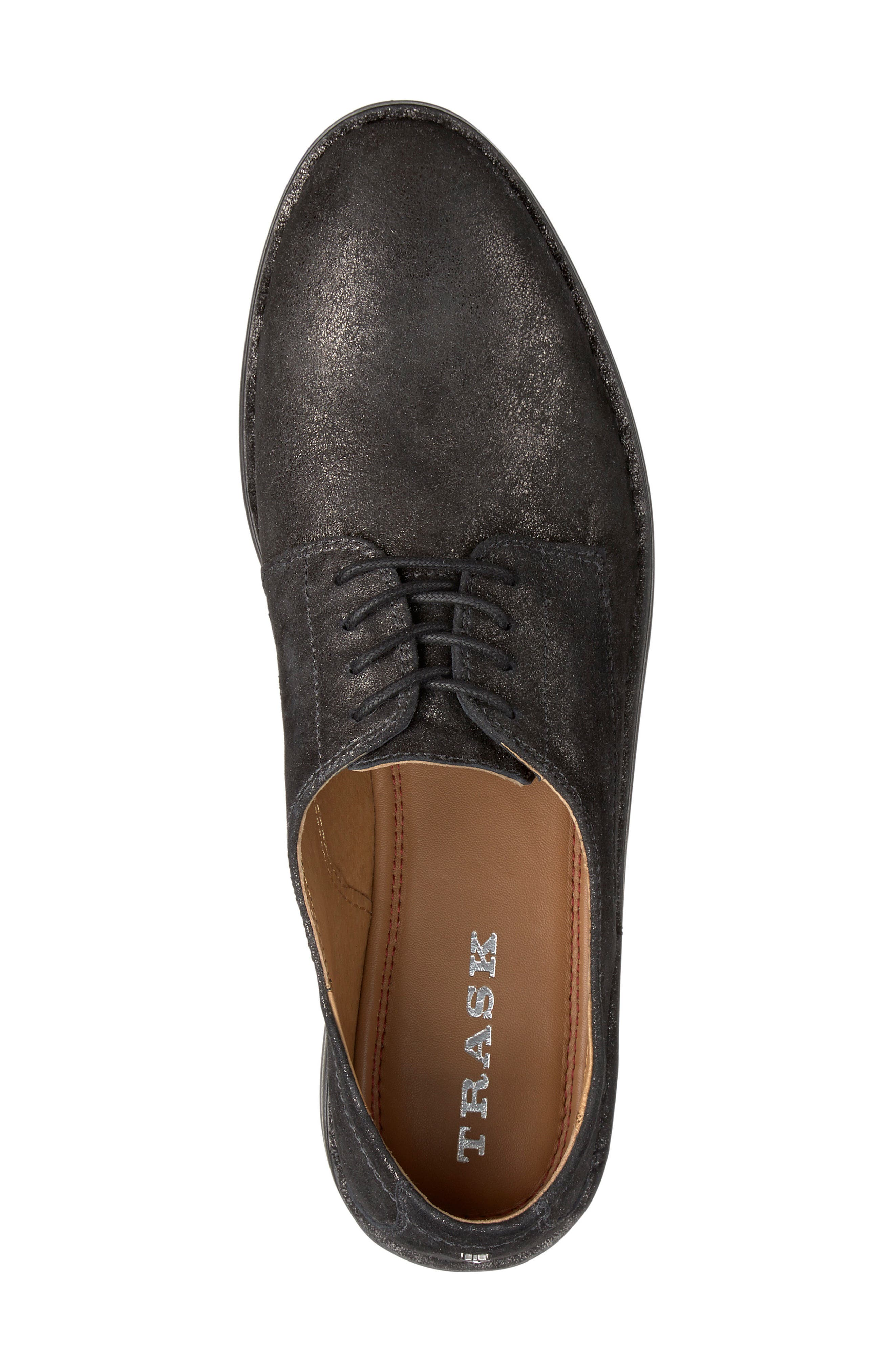 'Ana' Metallic Leather Oxford,                             Alternate thumbnail 5, color,                             BLACK SUEDE