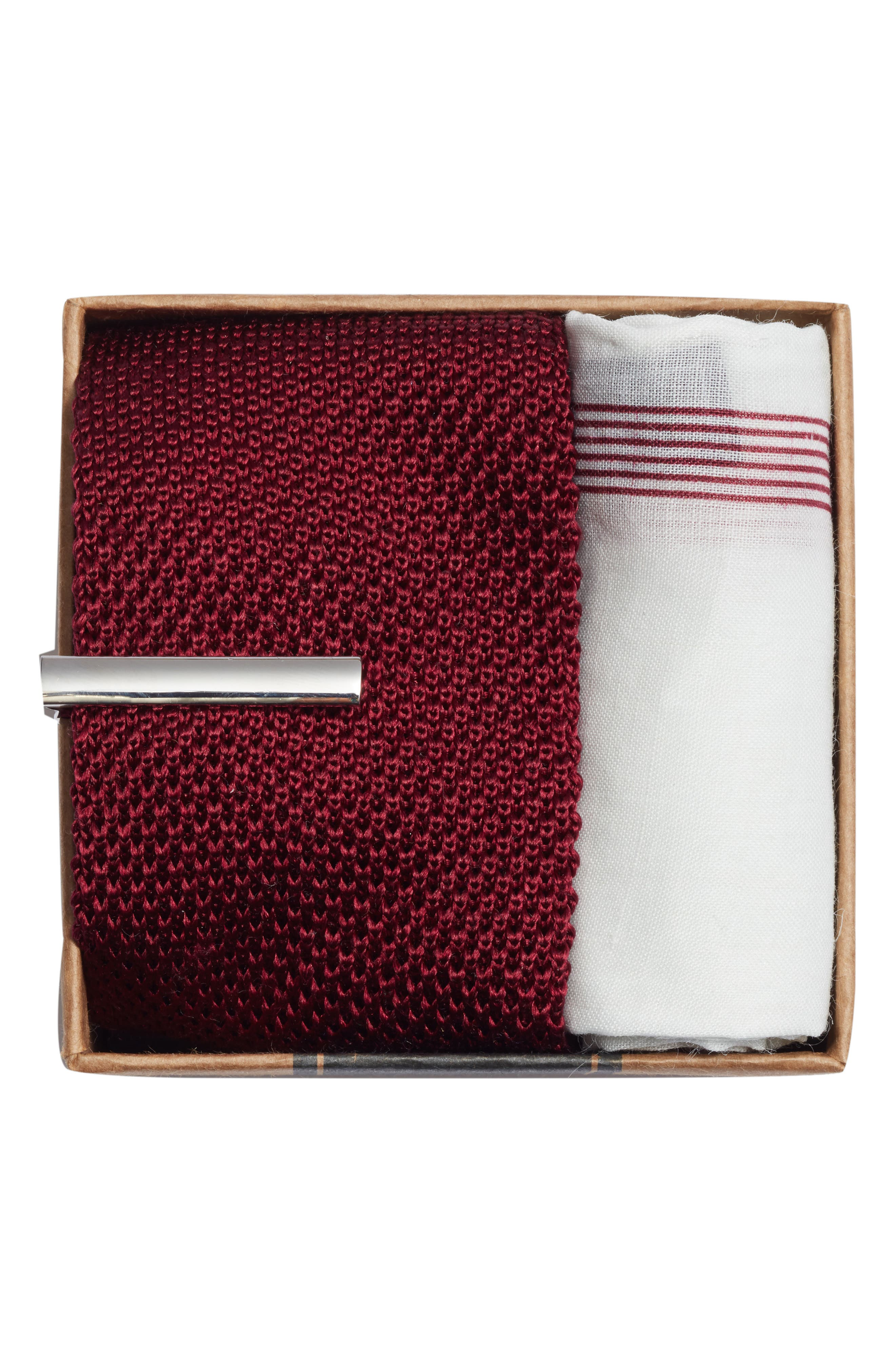 Pointed Tip 3-Piece Knit Tie Style Box,                             Alternate thumbnail 2, color,                             BURGUNDY