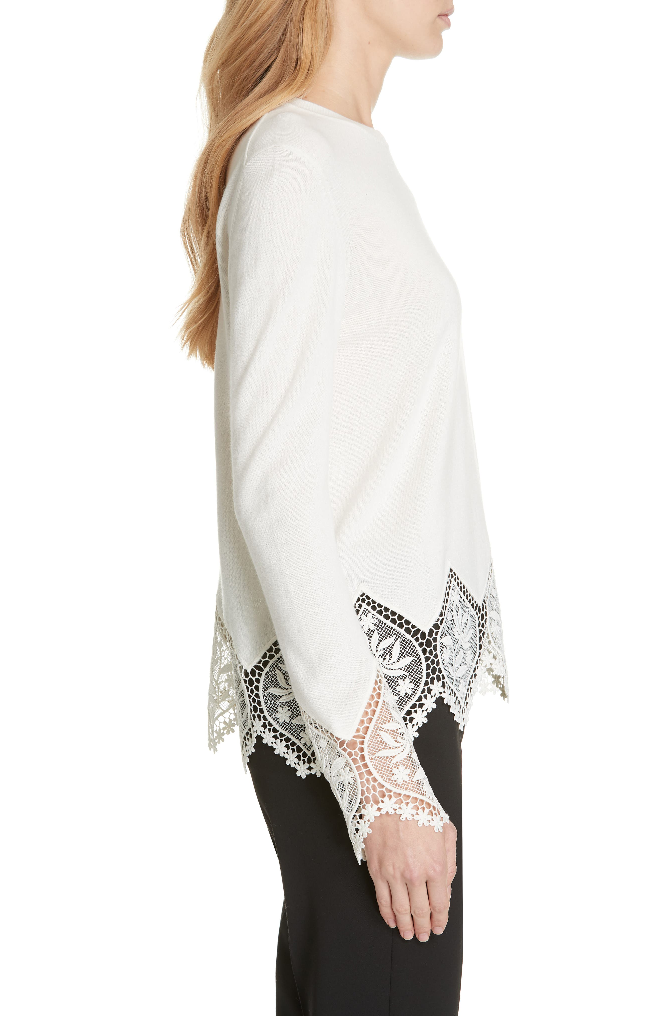 Aylex Lace Detail Wool Cashmere Blend Sweater,                             Alternate thumbnail 3, color,                             CREAM