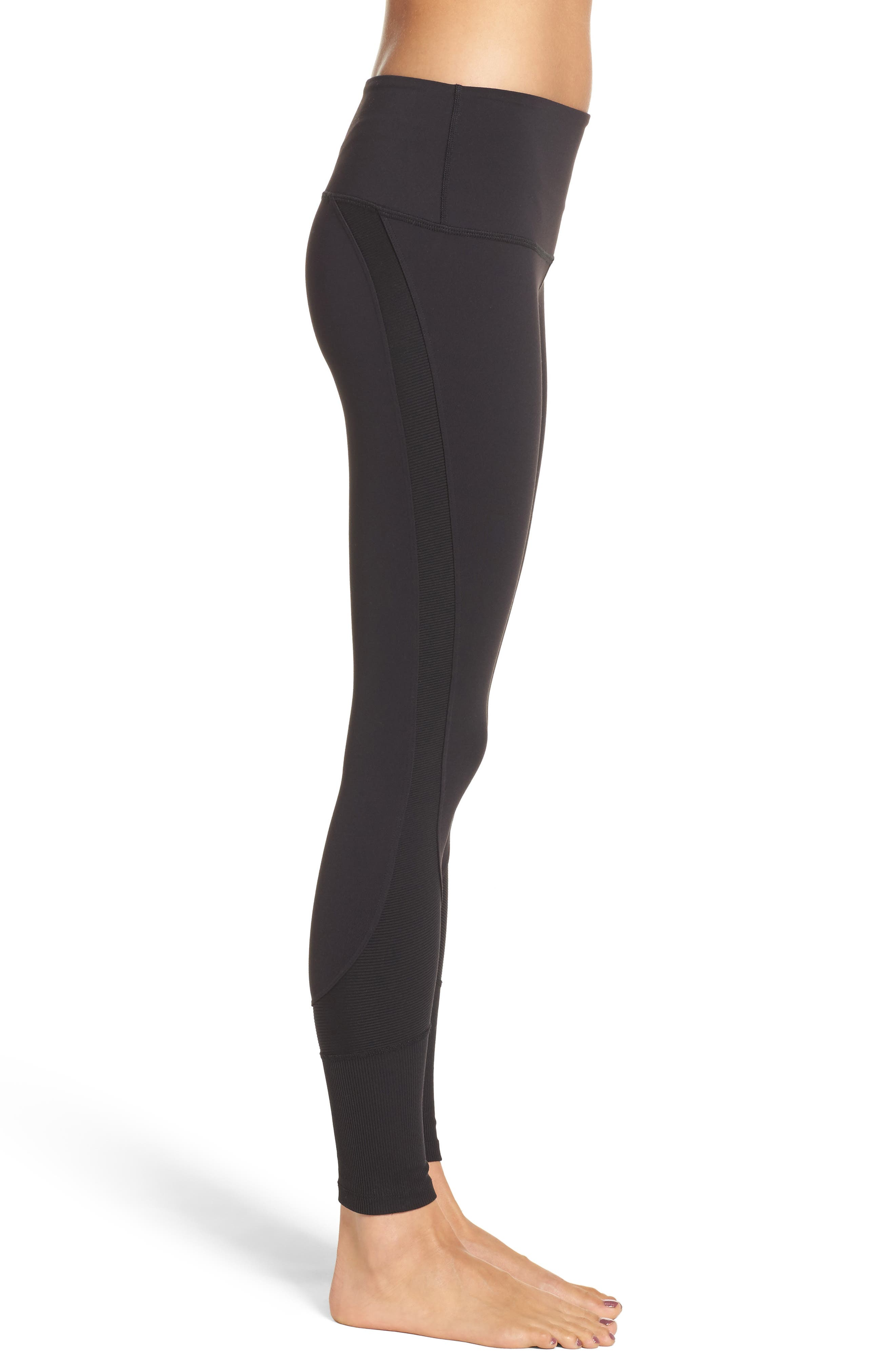 Half Pipe High Waist Tights,                             Alternate thumbnail 3, color,                             001