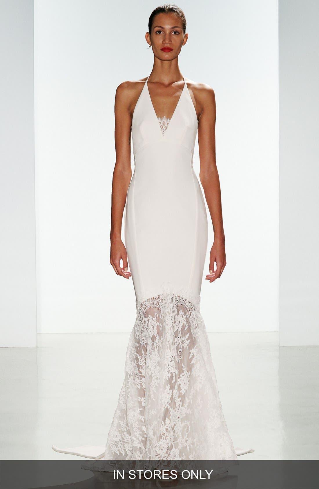 Bree Lace & Crepe Halter Gown,                             Main thumbnail 1, color,                             900
