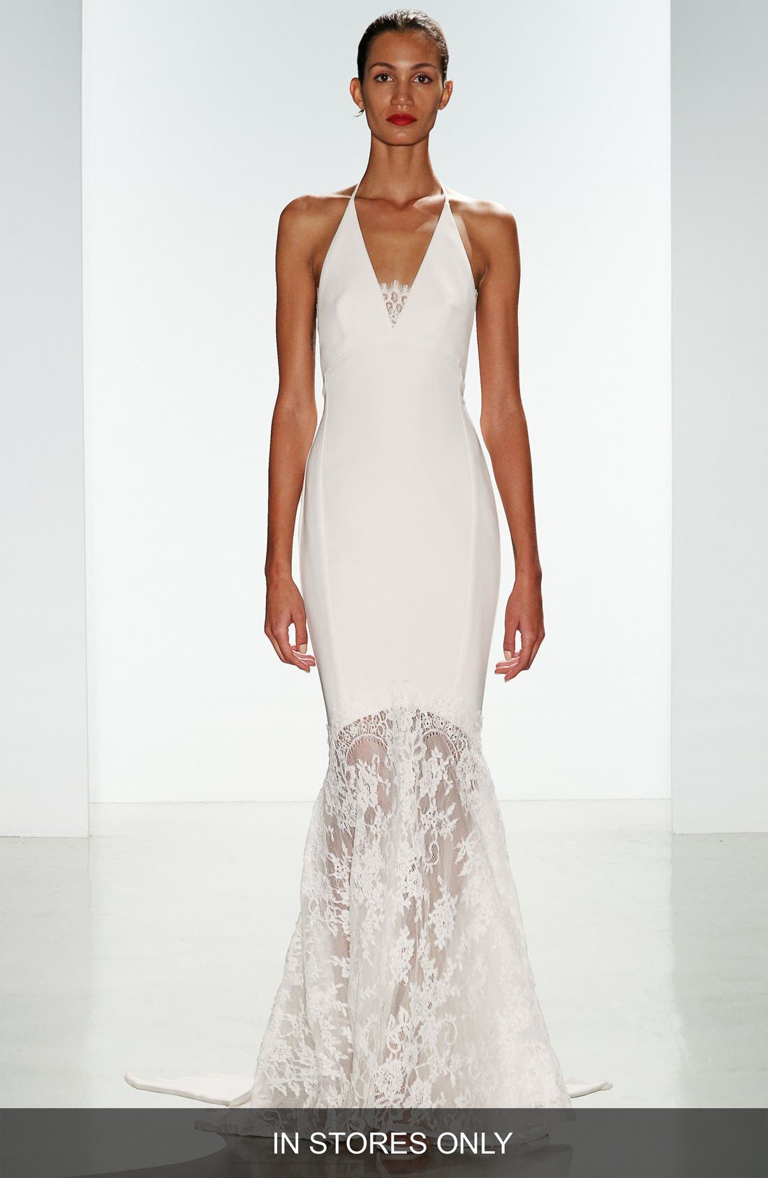 Bree Lace & Crepe Halter Gown,                         Main,                         color, 900