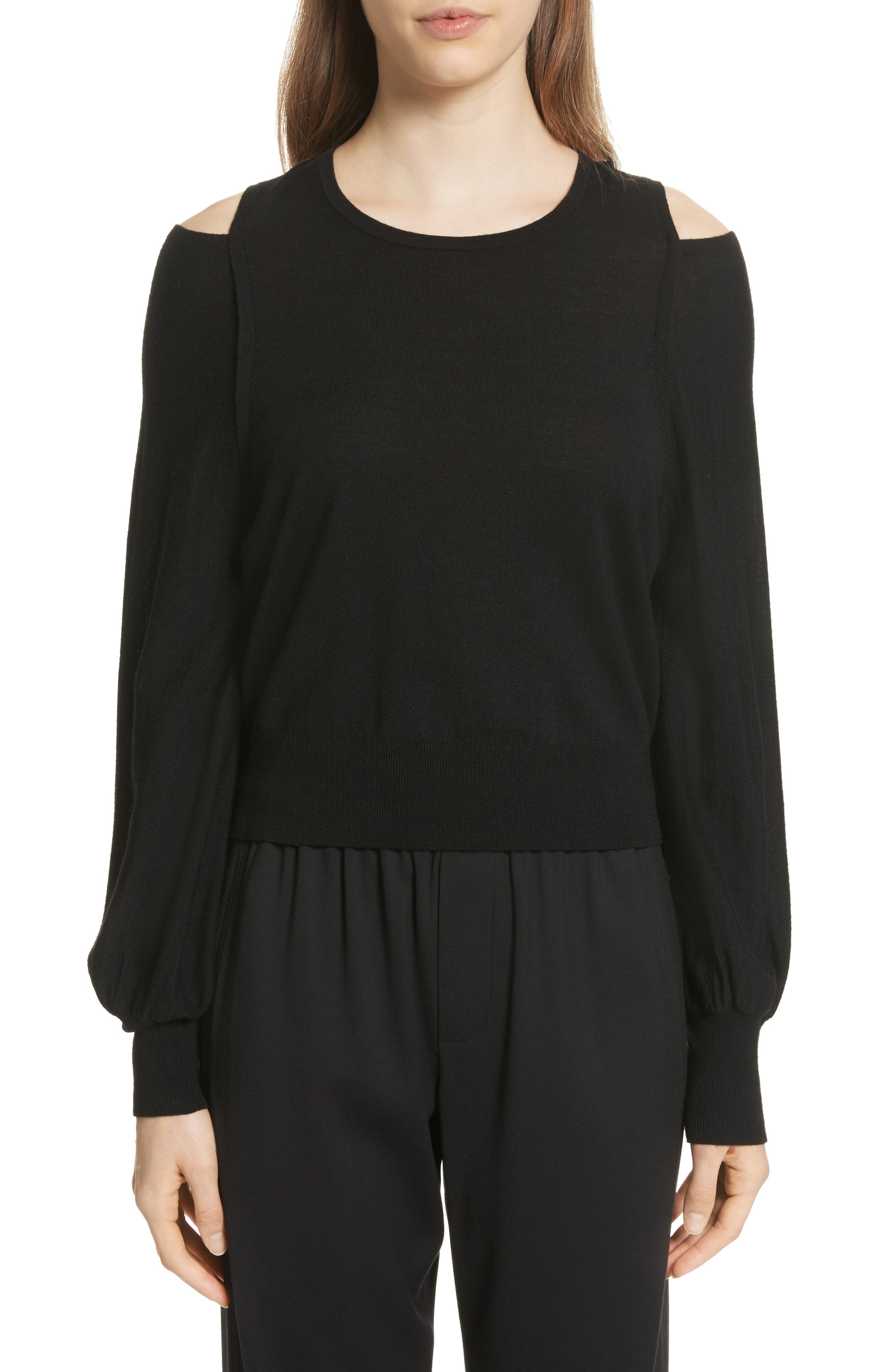Wool Cold Shoulder Sweater,                             Main thumbnail 1, color,                             001