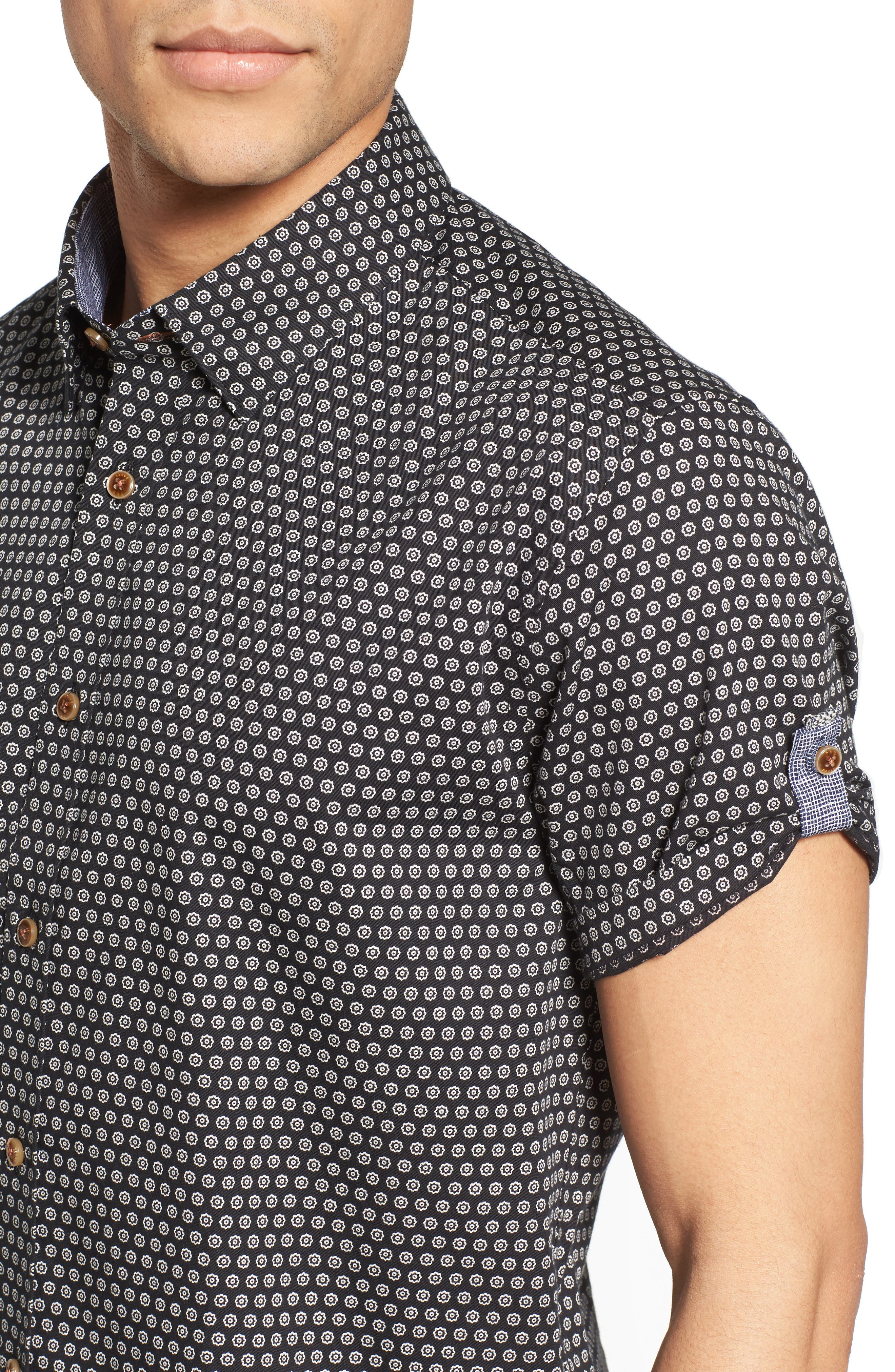 Braaks Extra Slim Fit Flower Print Sport Shirt,                             Alternate thumbnail 4, color,                             001