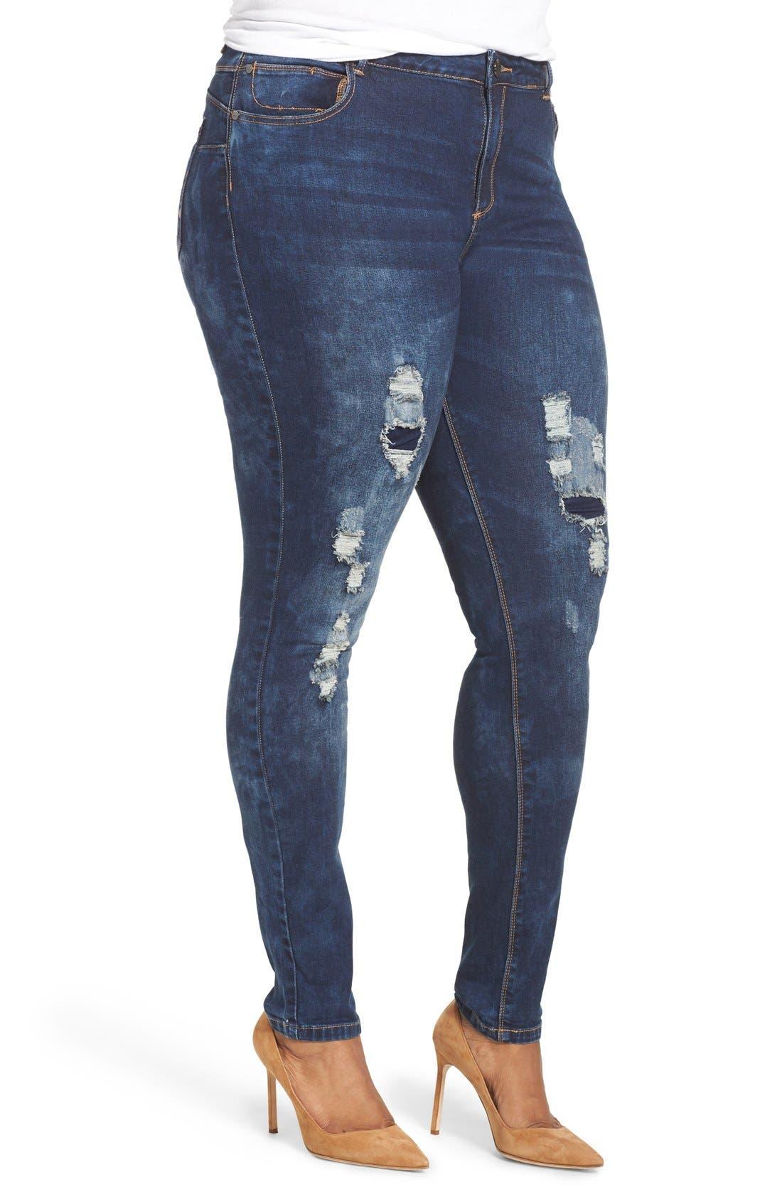 'Dismantle' Ripped Stretch Skinny Jeans,                             Alternate thumbnail 6, color,                             DARK DENIM