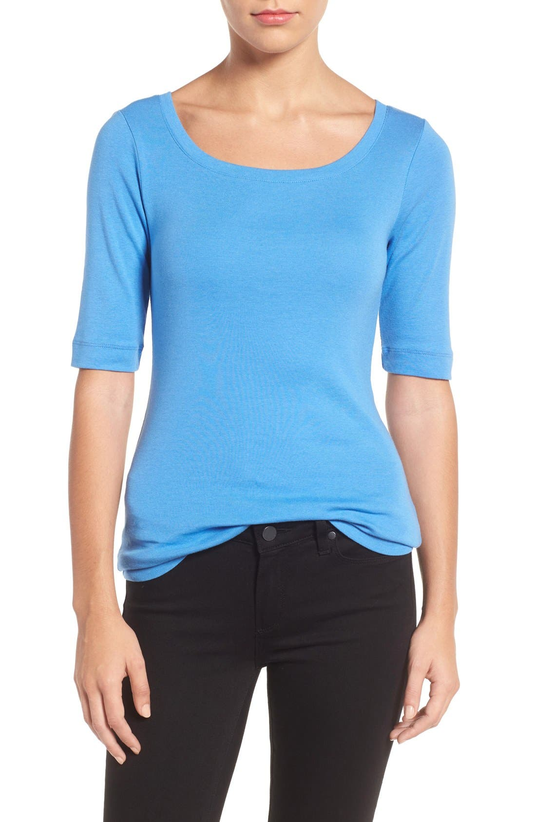 Ballet Neck Cotton & Modal Knit Elbow Sleeve Tee,                             Main thumbnail 31, color,