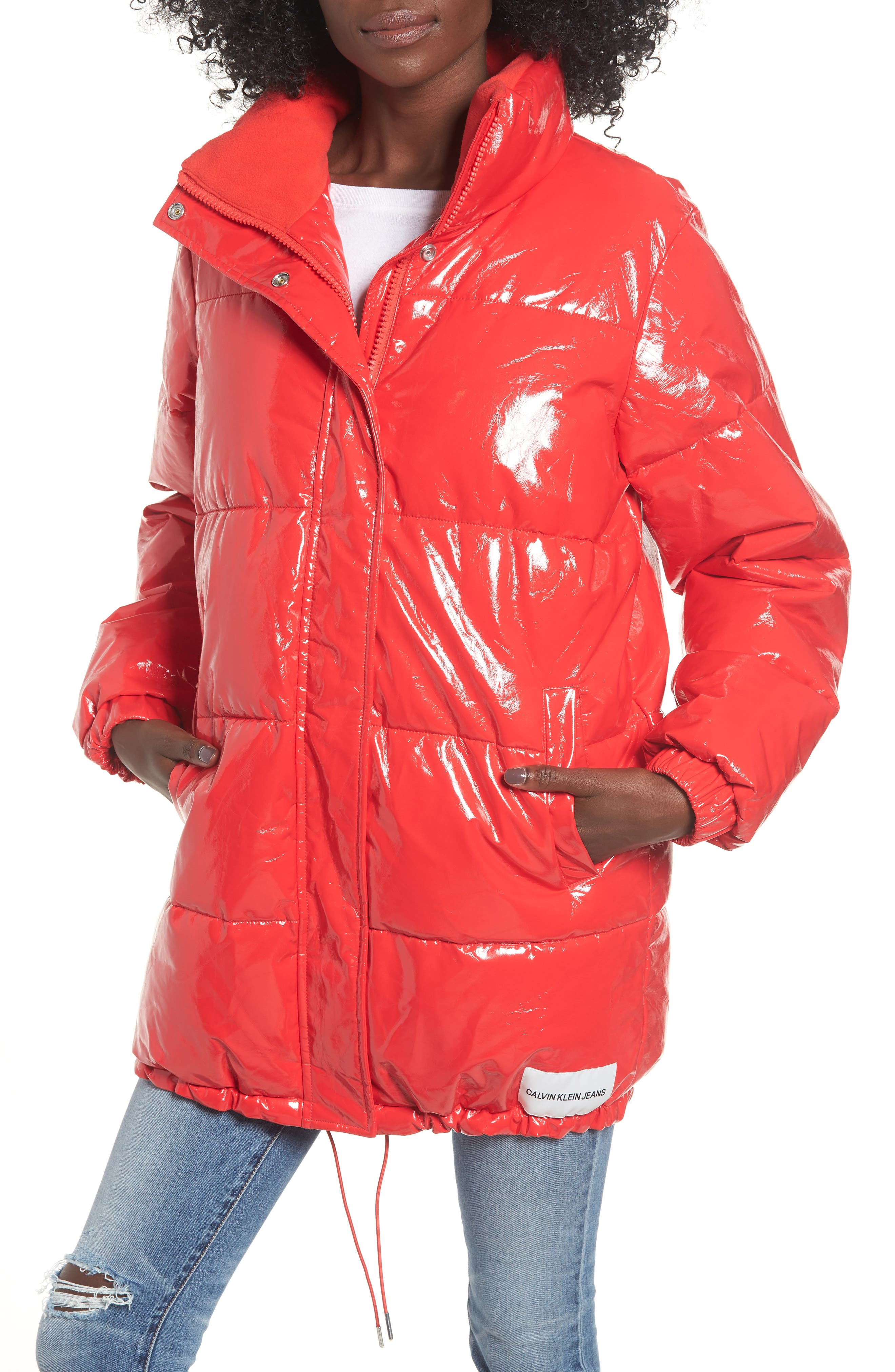 Glossy Puffer Jacket,                             Alternate thumbnail 4, color,                             TOMATO