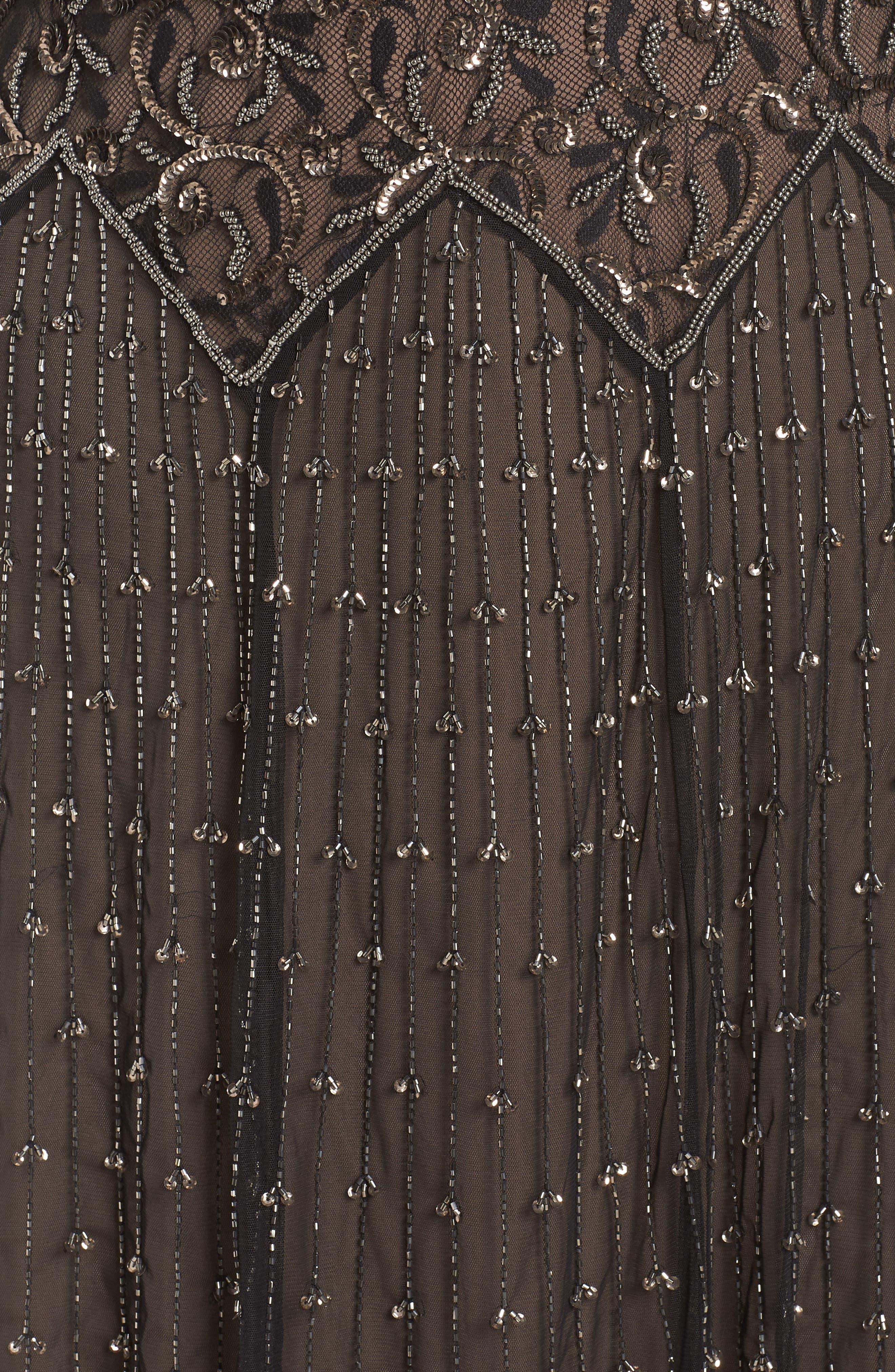 Embellished Mesh Gown,                             Alternate thumbnail 5, color,                             BLACK