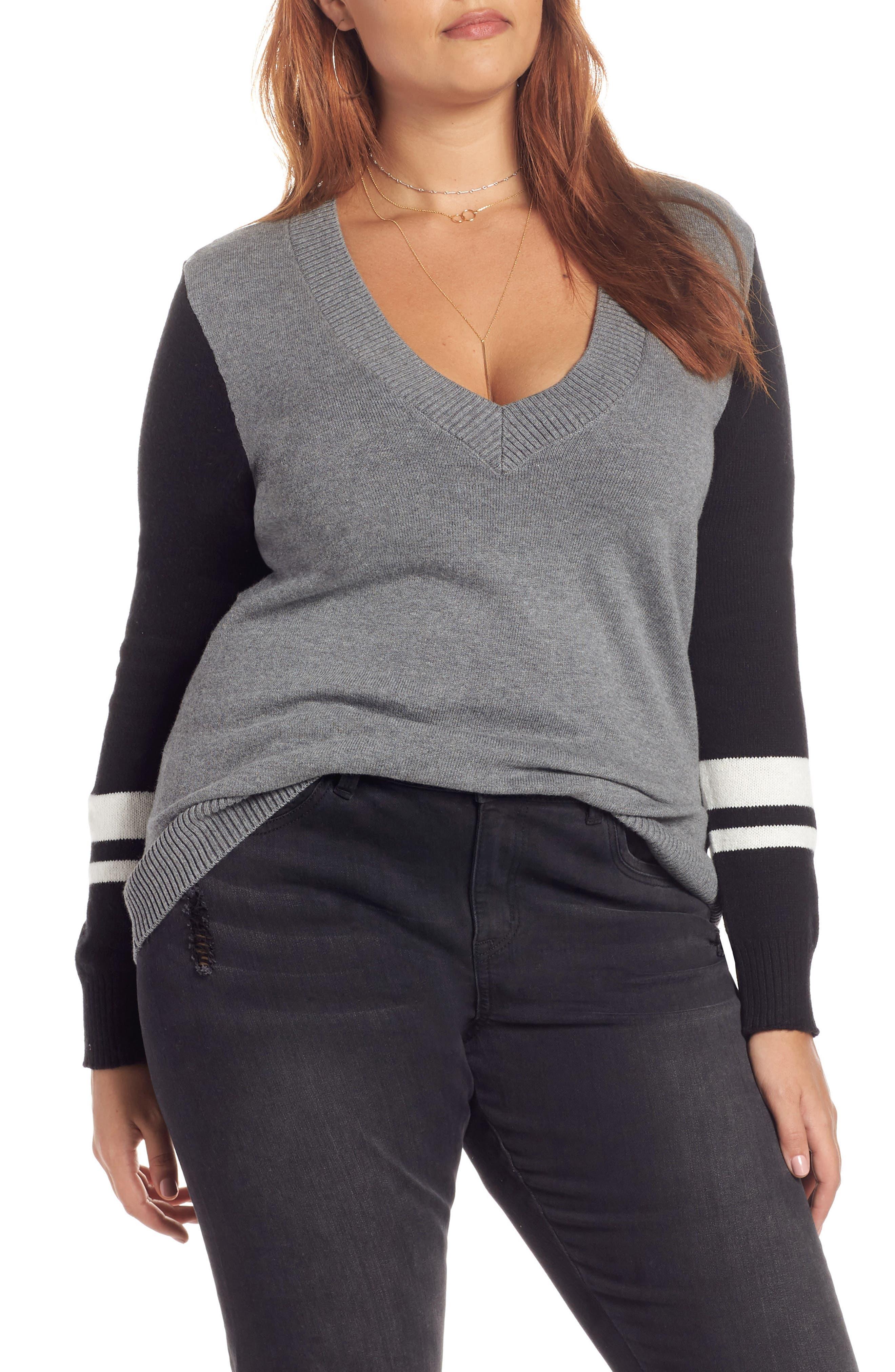 Stripe V-Neck Sweater,                             Alternate thumbnail 2, color,                             GREY HEATHER COMBO