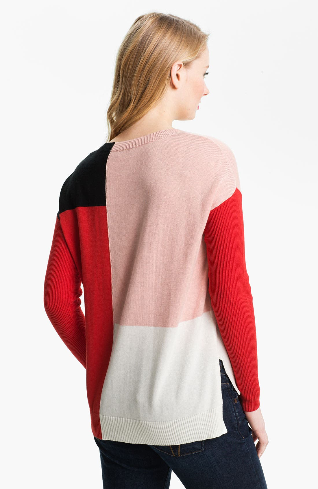 Colorblock High Low Sweater,                             Alternate thumbnail 3, color,                             601