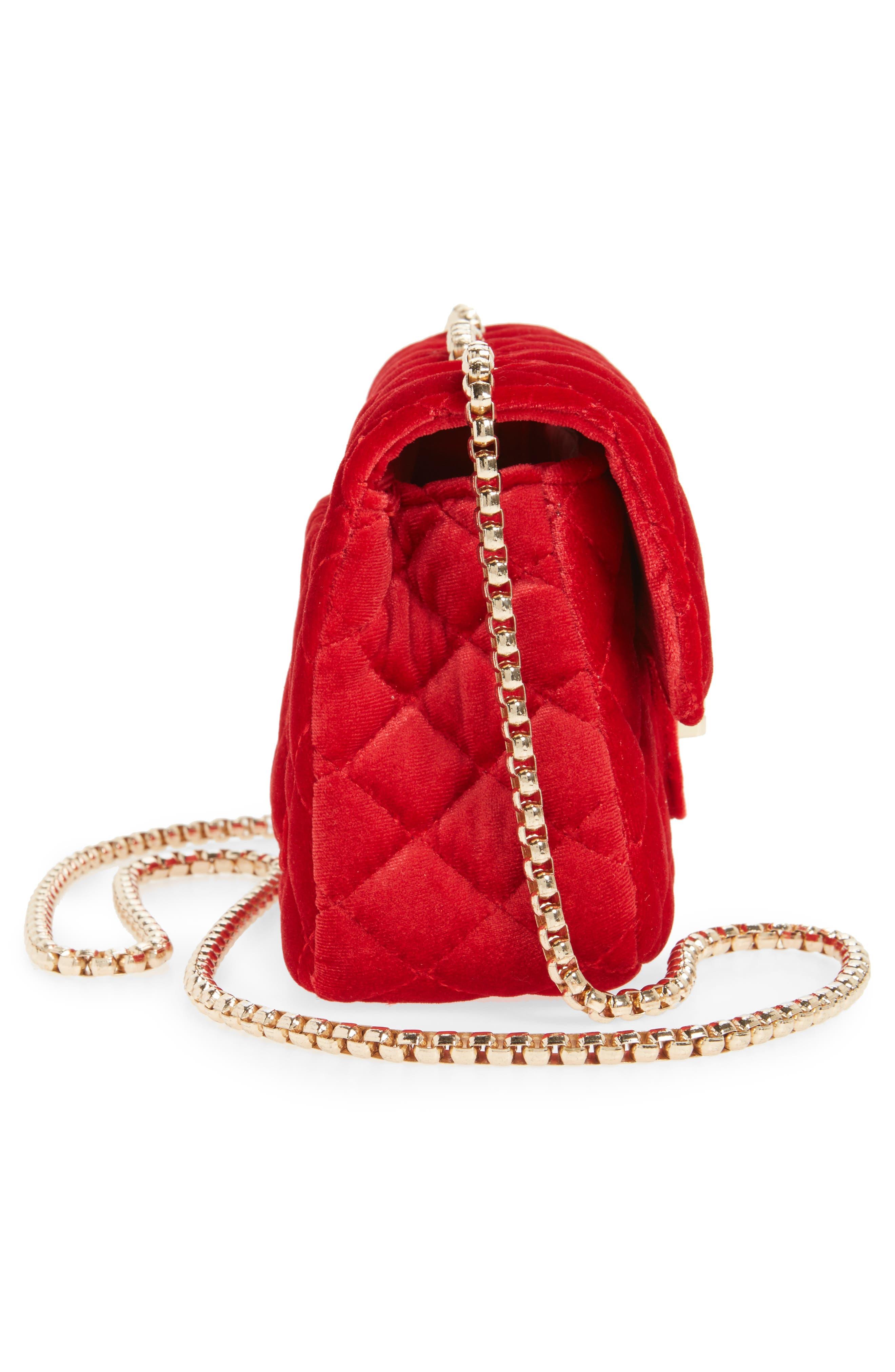 POPATU,                             Quilted Velvet Shoulder Bag,                             Alternate thumbnail 4, color,                             RED