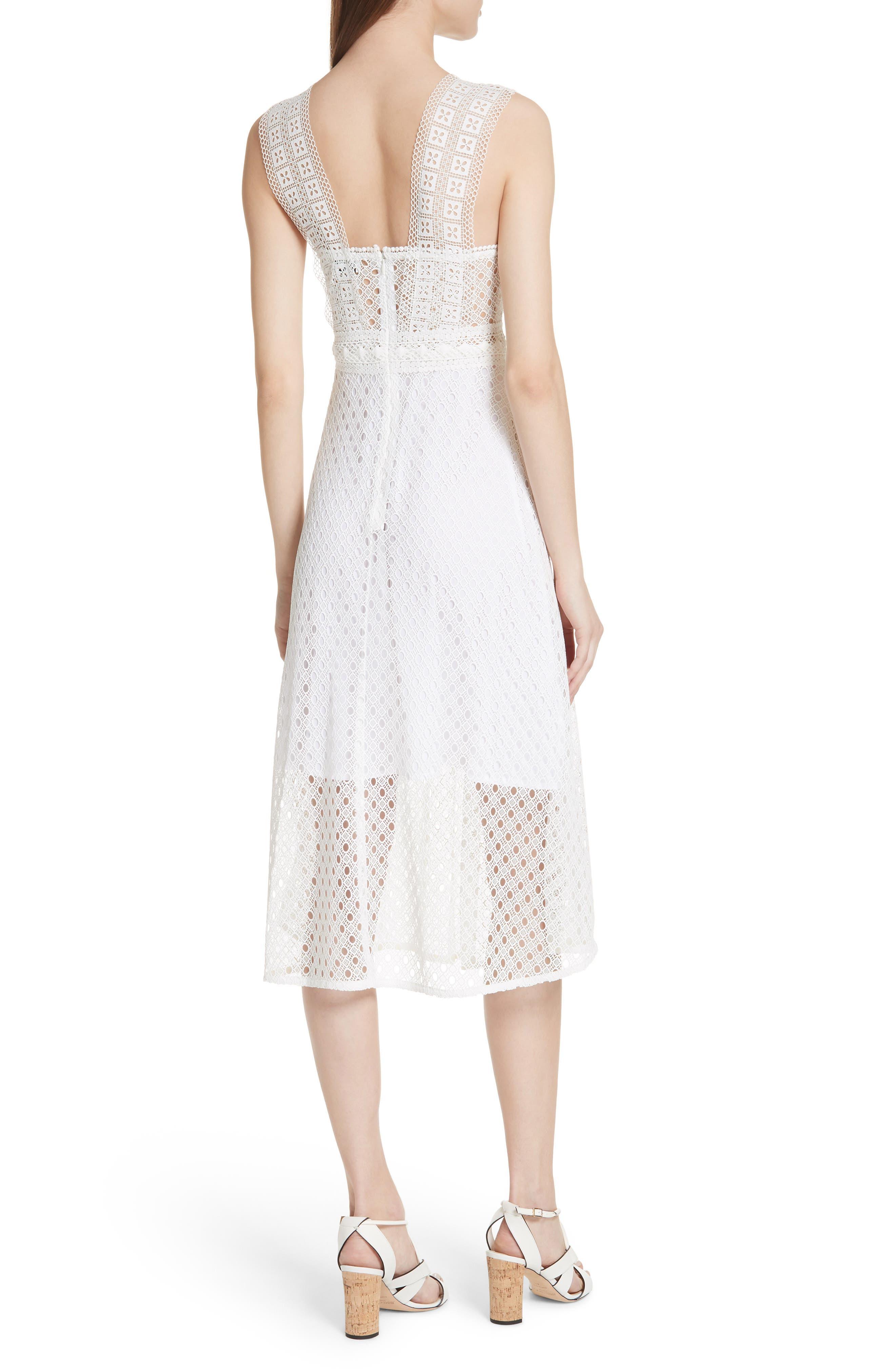 Blanc Lace Square Neck Dress,                             Alternate thumbnail 2, color,                             100
