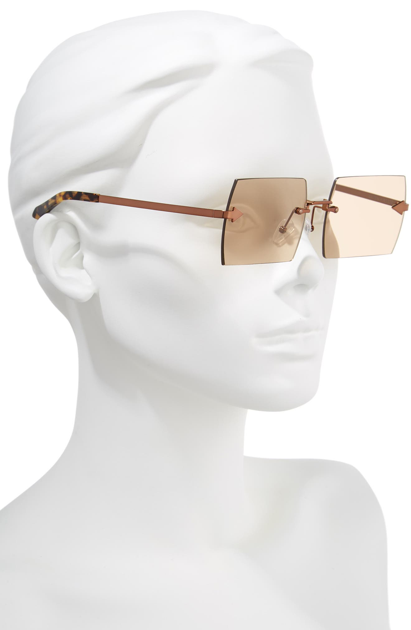 The Bird 58mm Rimless Sunglasses,                             Alternate thumbnail 2, color,                             LIGHT BROWN