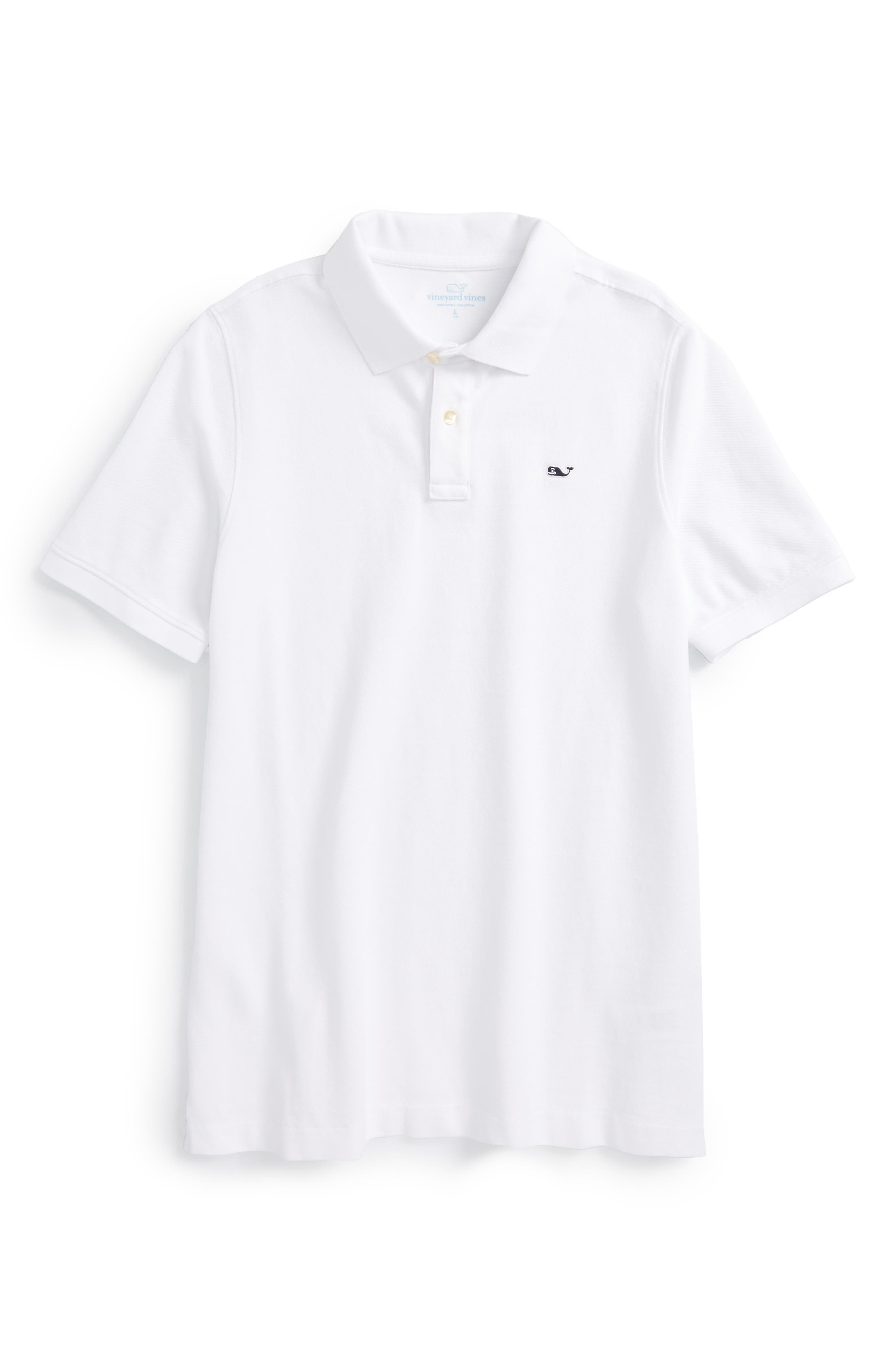 Classic Piqué Cotton Polo,                             Main thumbnail 1, color,                             WHITE CAP