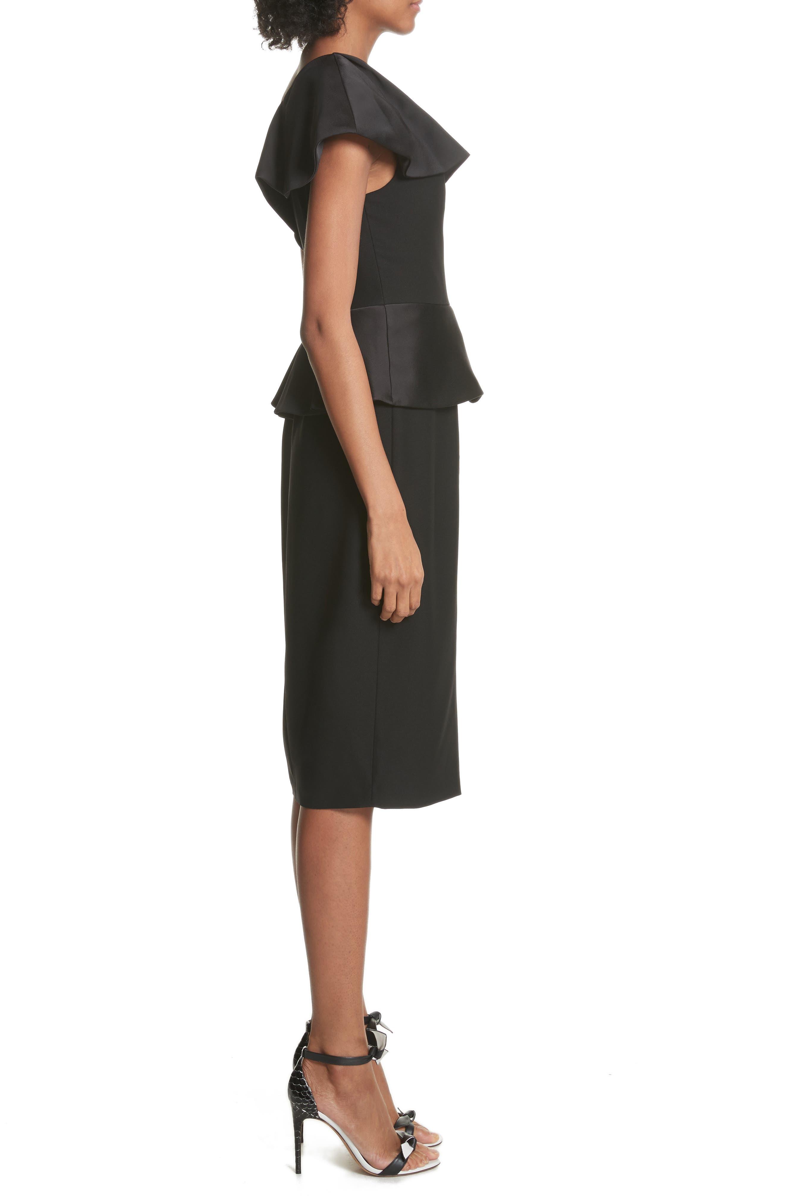Pana One-Shoulder Peplum Sheath Dress,                             Alternate thumbnail 3, color,                             001
