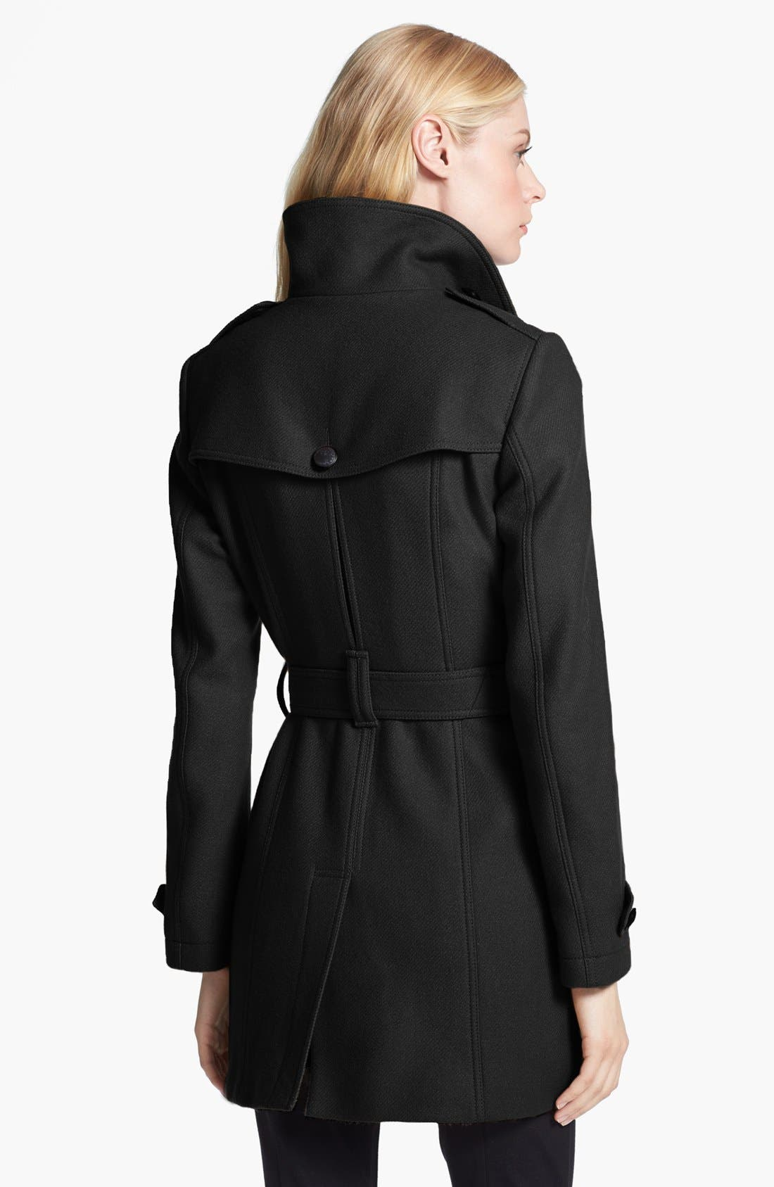 BURBERRY BRIT,                             'Daylesmoore' Wool Blend Trench Coat,                             Alternate thumbnail 2, color,                             001
