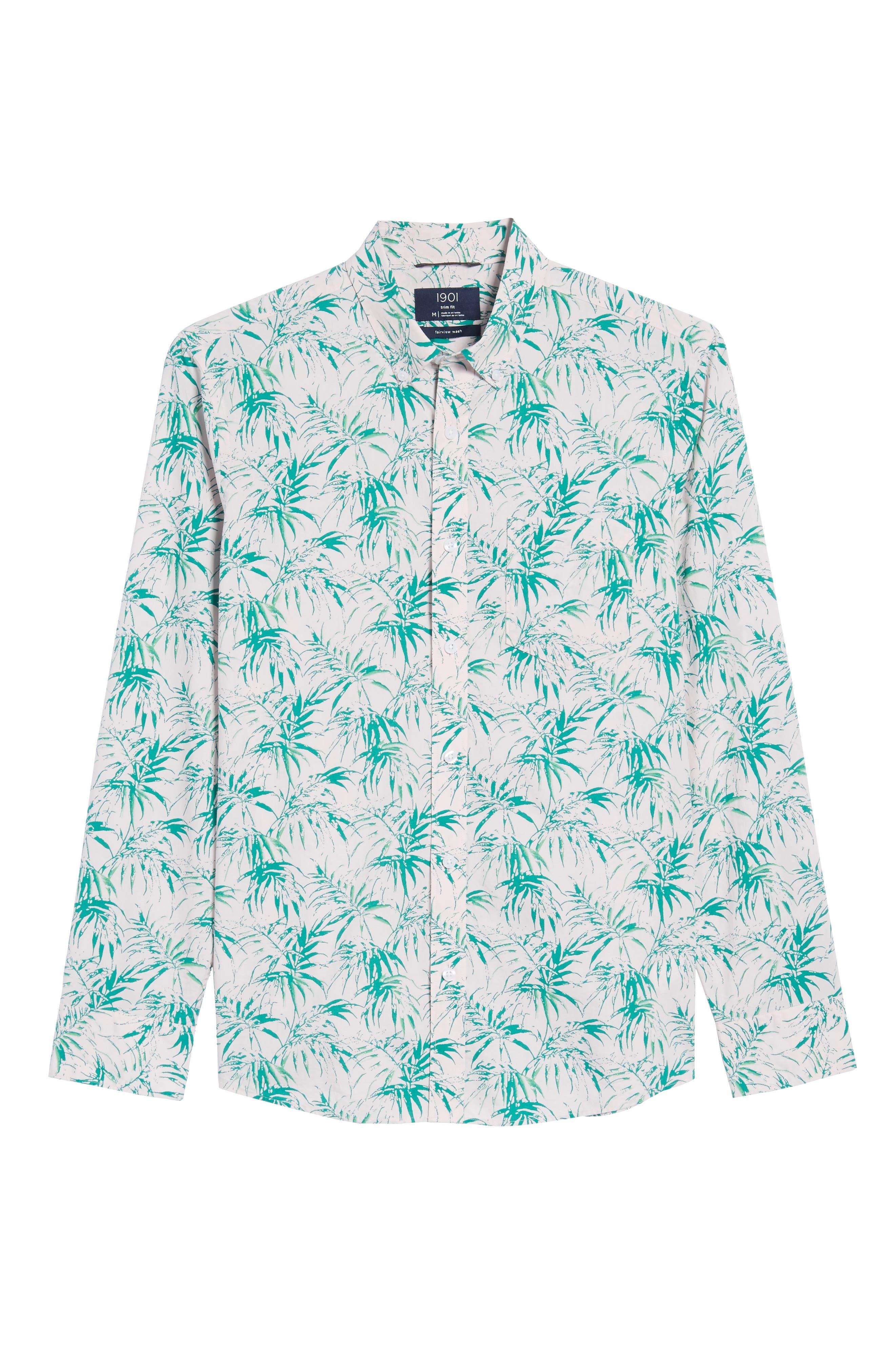 Trim Fit Palm Print Sport Shirt,                             Alternate thumbnail 6, color,                             680