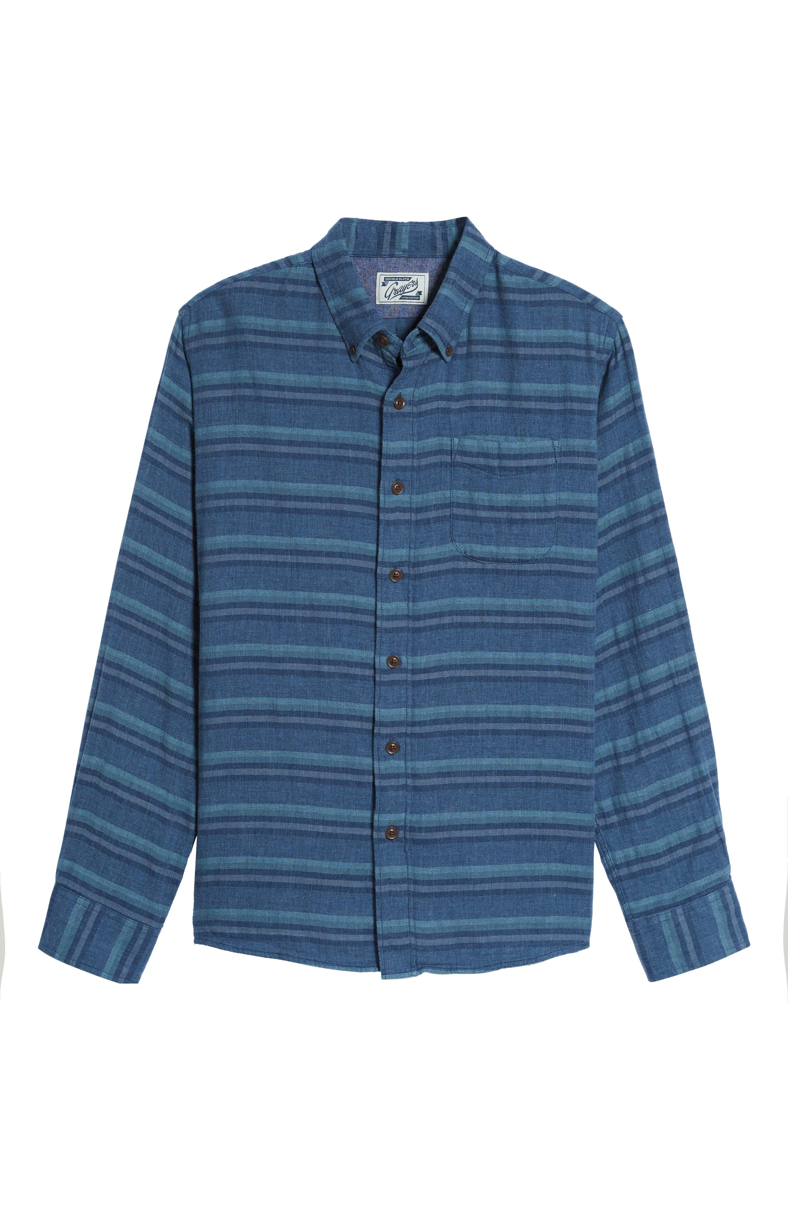 Harcourt Modern Fit Double Cloth Striped Sport Shirt,                             Alternate thumbnail 6, color,                             462