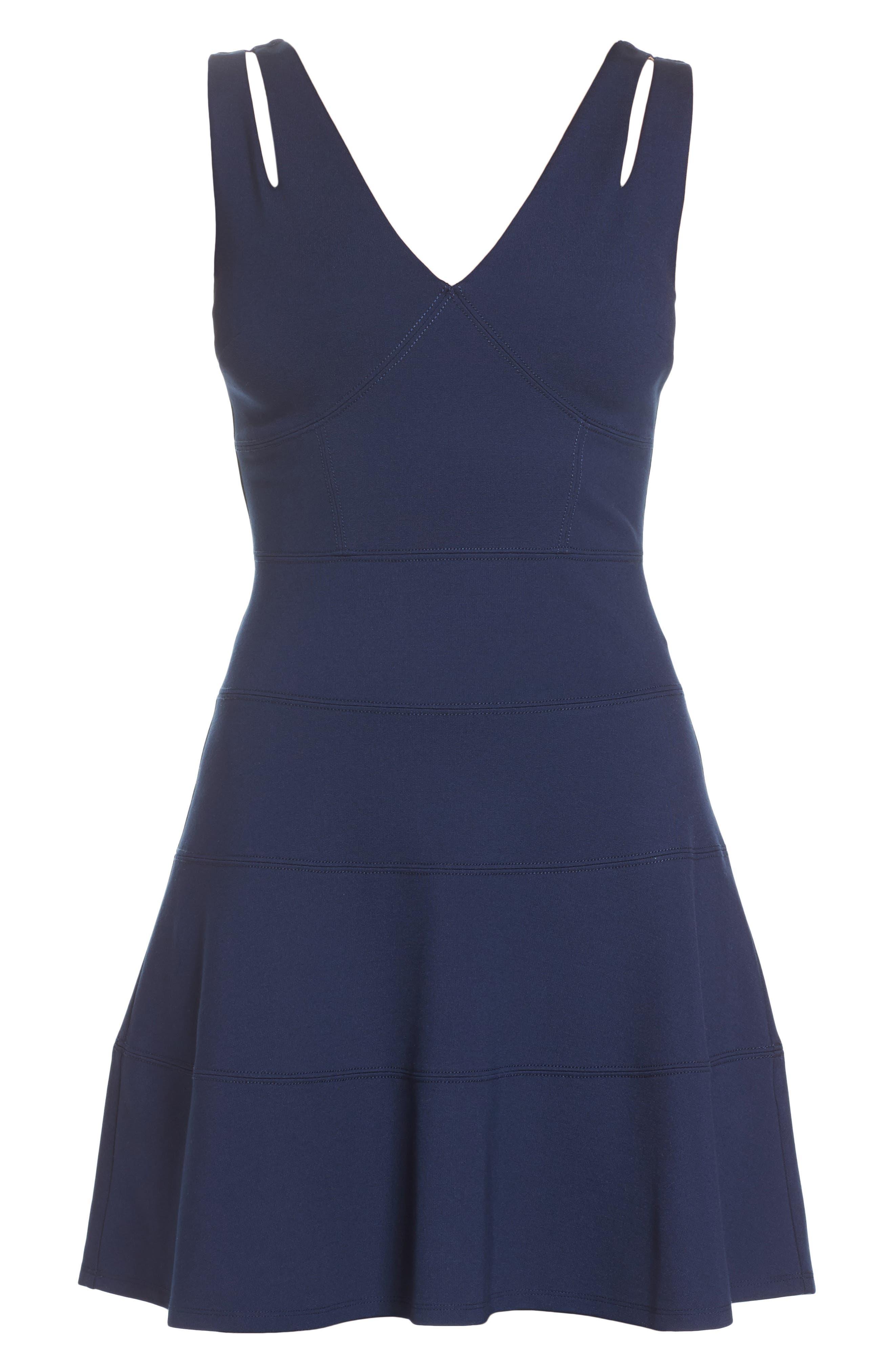Lace Back Fit & Flare Dress,                             Alternate thumbnail 6, color,                             400