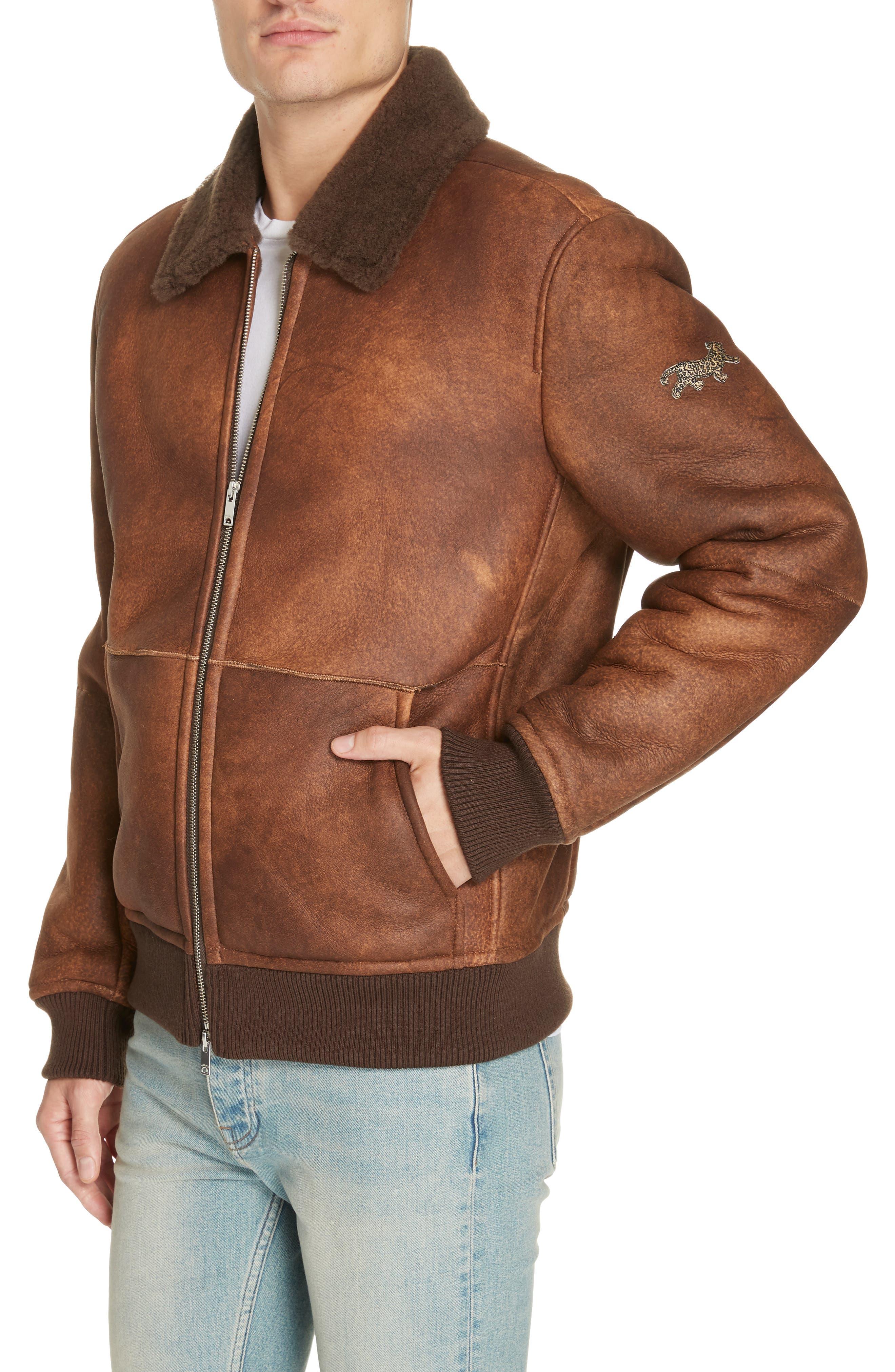 Genuine Shearling Aviator Jacket,                             Alternate thumbnail 4, color,                             BROWN