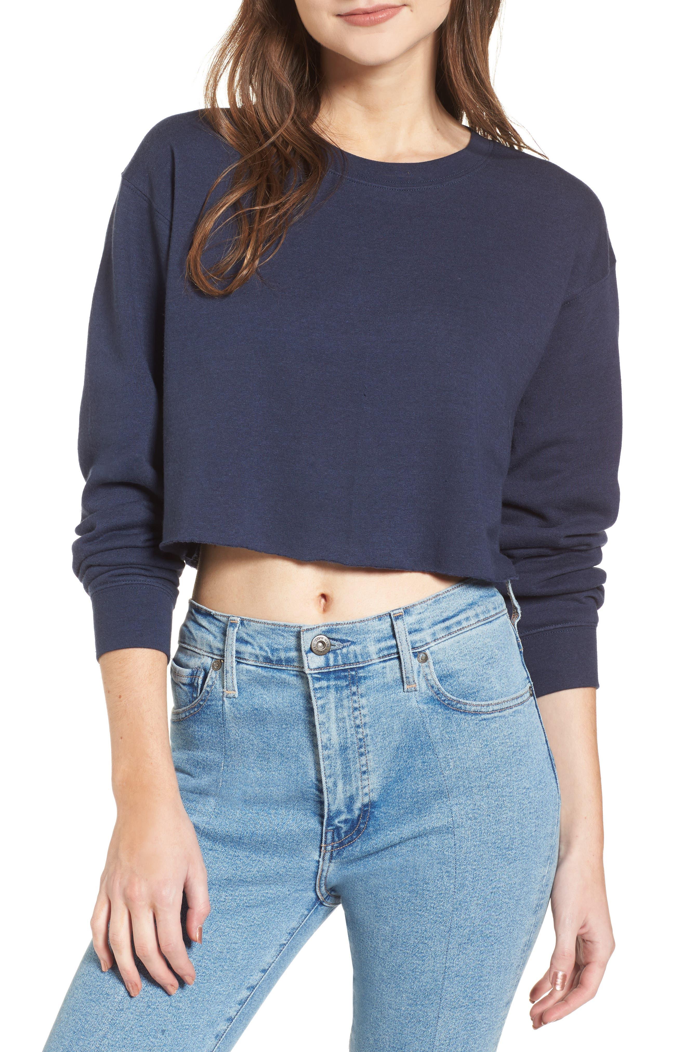 Gigi Crop Sweatshirt,                         Main,                         color, NAVY