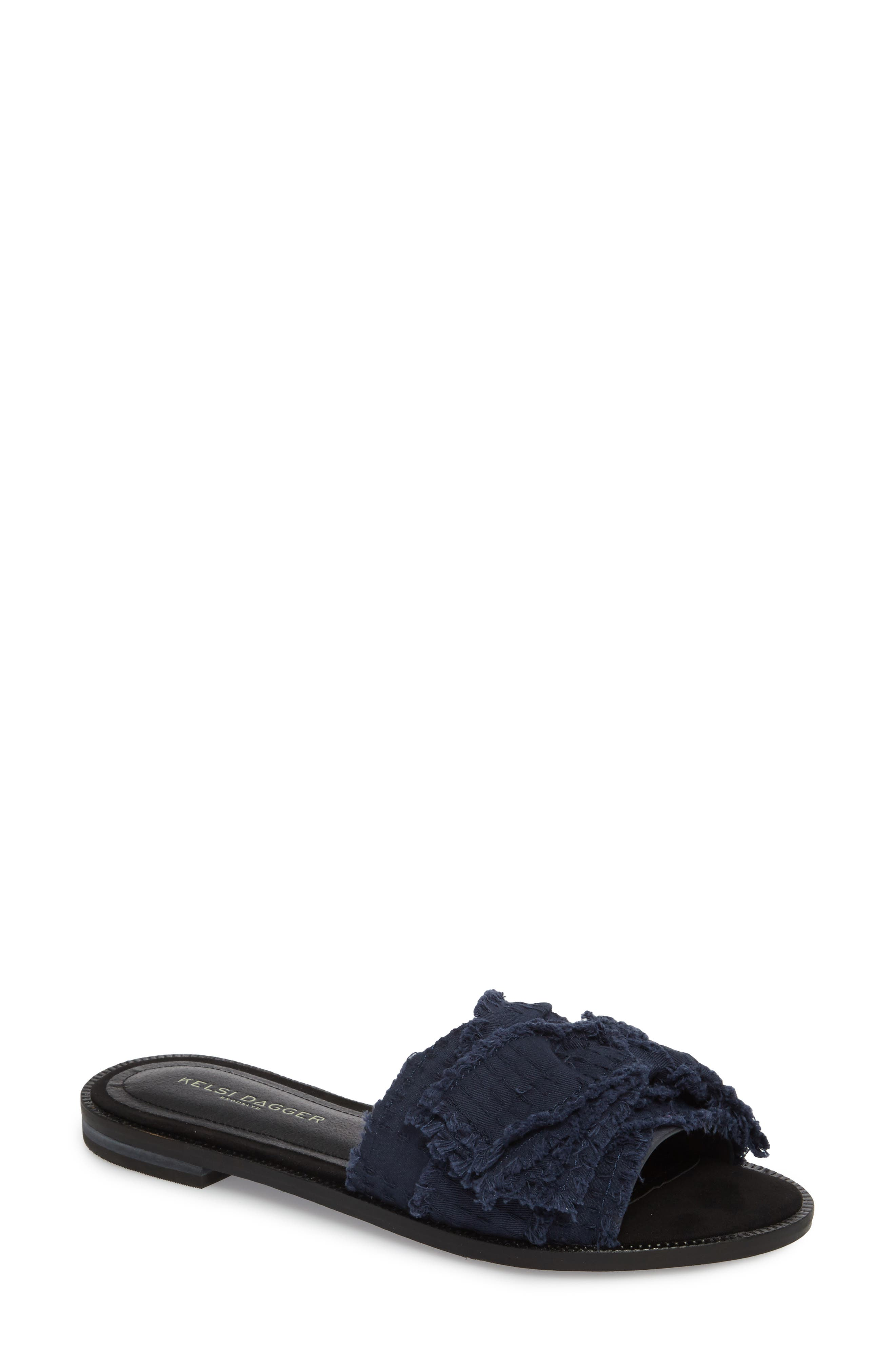 Revere Bow Slide Sandal,                             Main thumbnail 1, color,                             BLACK/ NAVY LEATHER