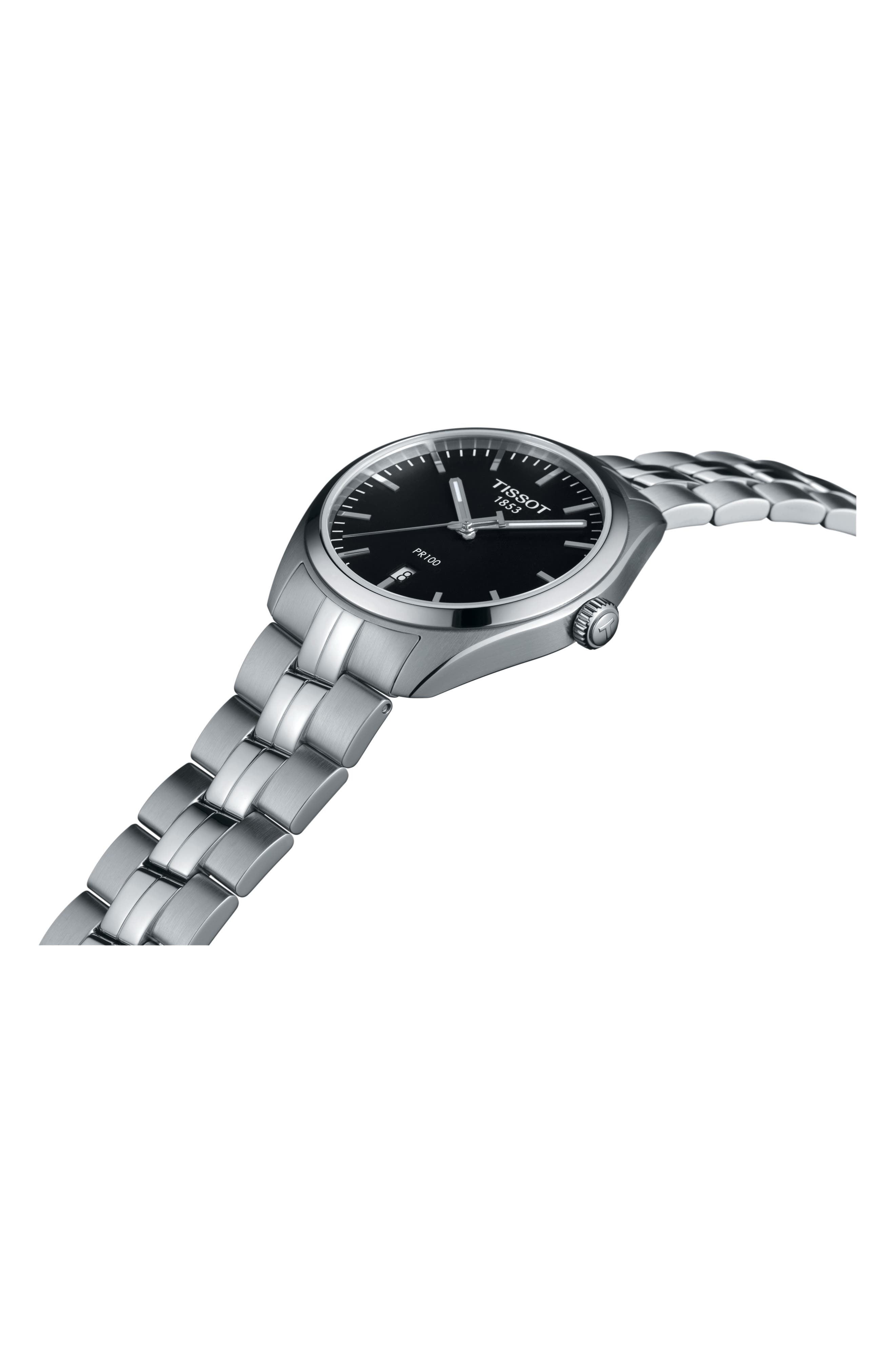 PR100 Bracelet Watch, 39mm,                             Alternate thumbnail 3, color,                             SILVER/ BLACK/ SILVER
