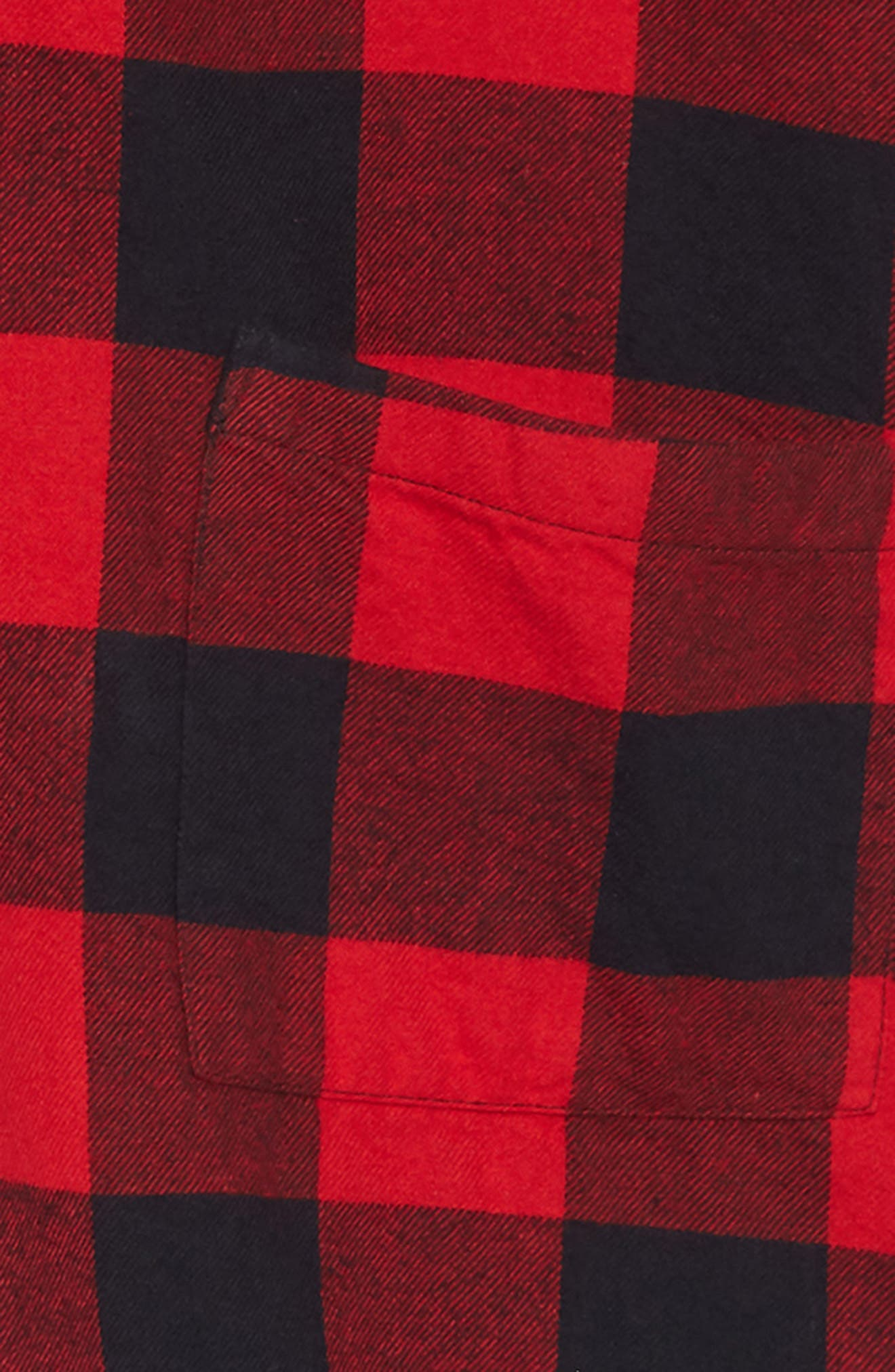 Hooded Flannel Dress,                             Alternate thumbnail 3, color,                             RED PEPPER BUFFALO CHECK
