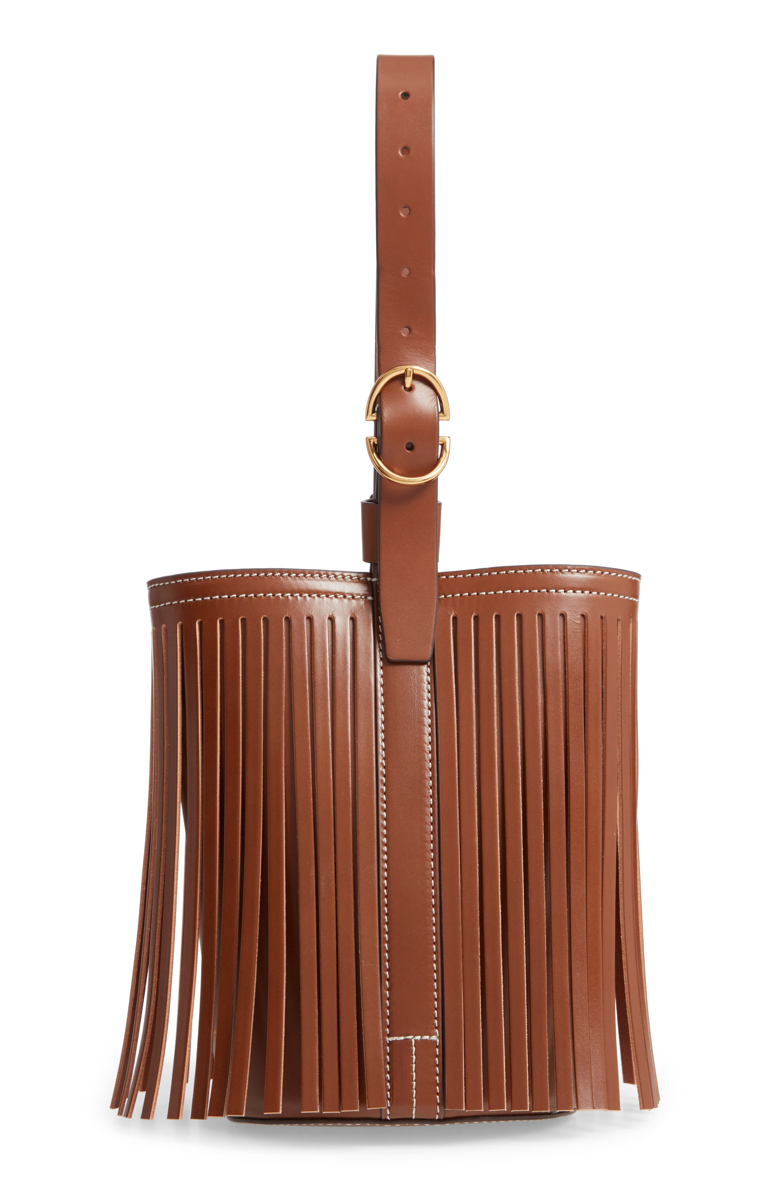 Small Fringe Leather Bucket Bag by Trademark