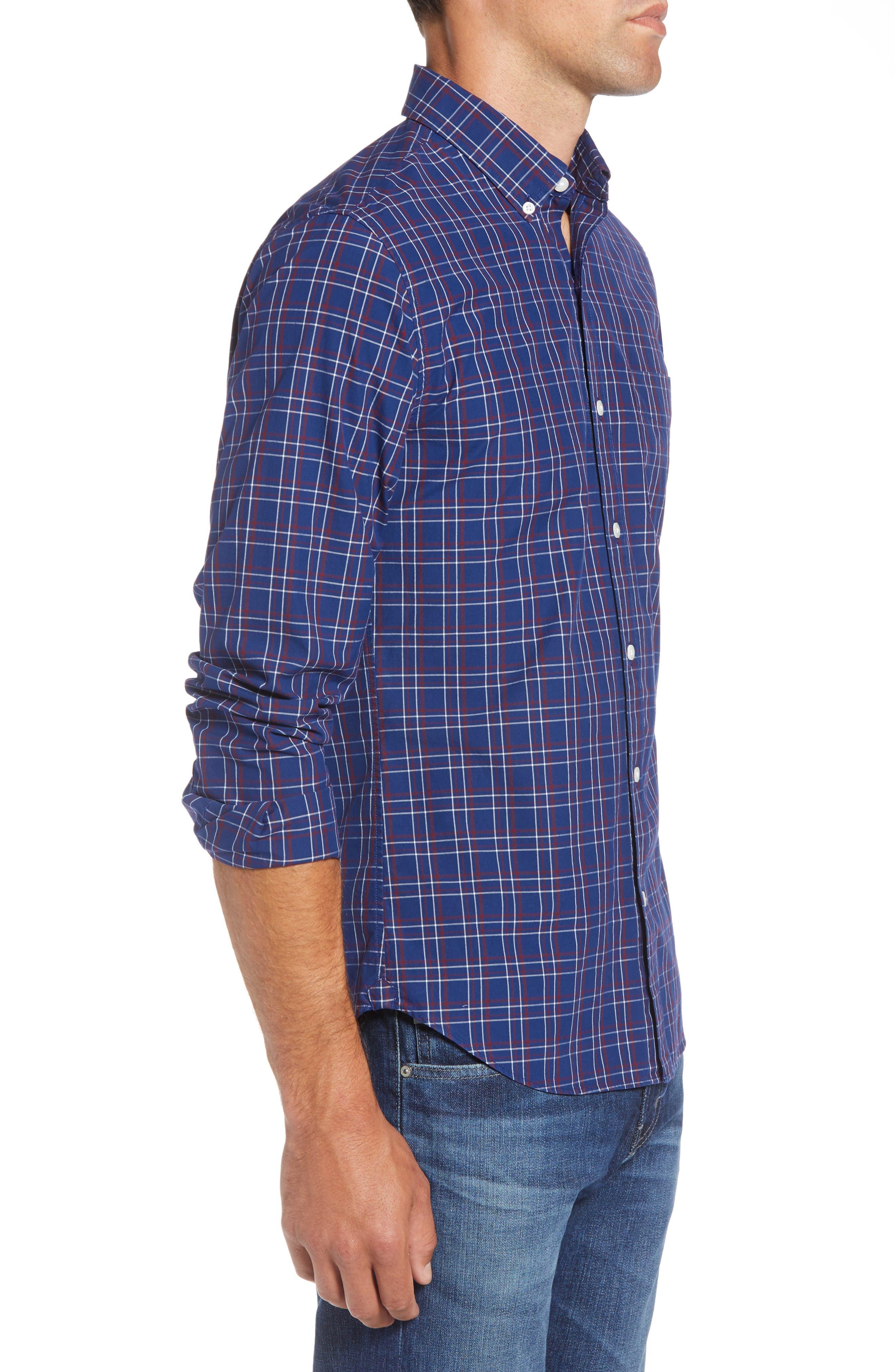 Slim Fit Washed Check Sport Shirt,                             Alternate thumbnail 4, color,                             CALVIN CHECK - BLUE CORN