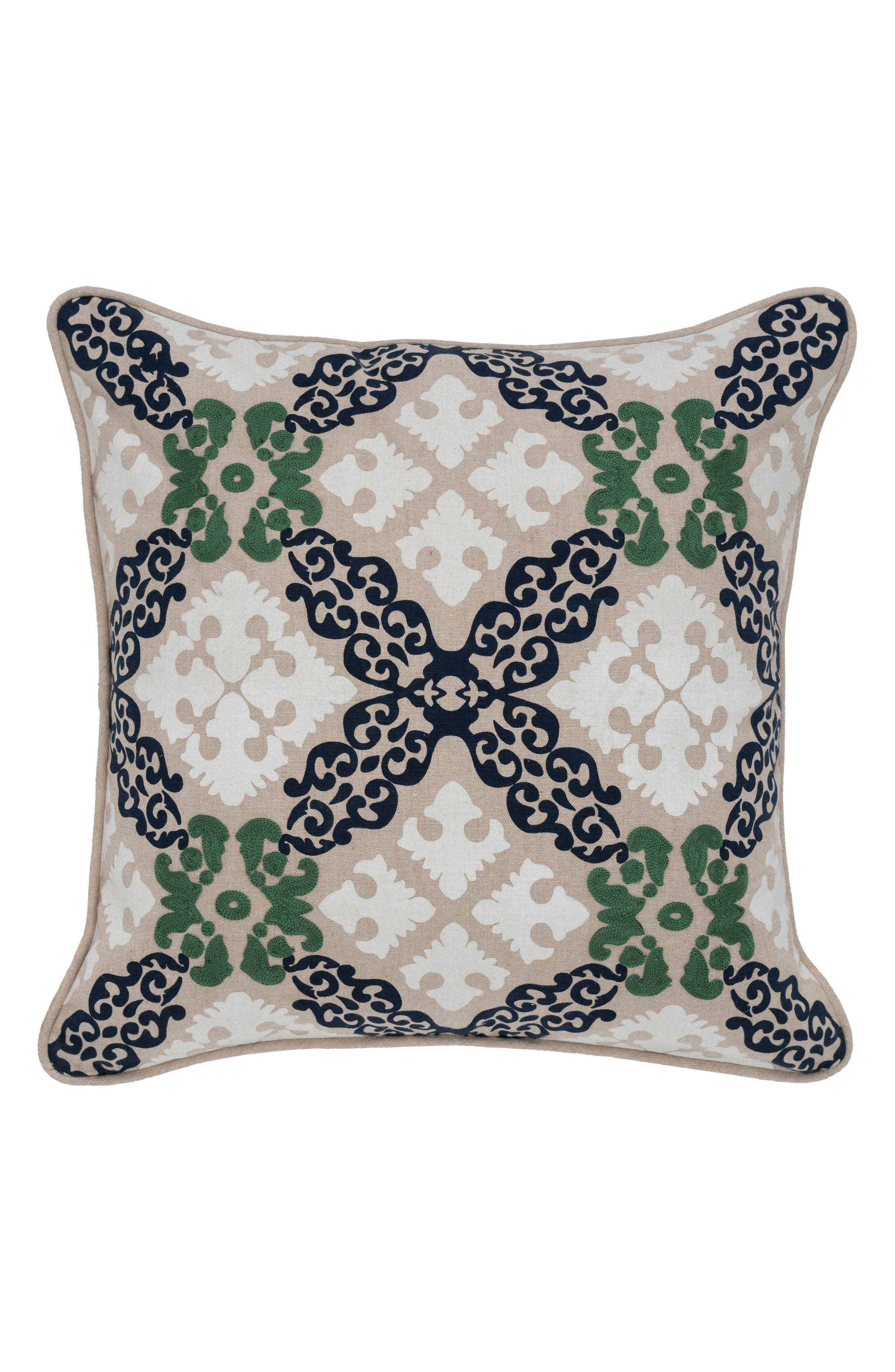 Ve Dero Accent Pillow,                             Main thumbnail 1, color,                             GREEN/ NAVY