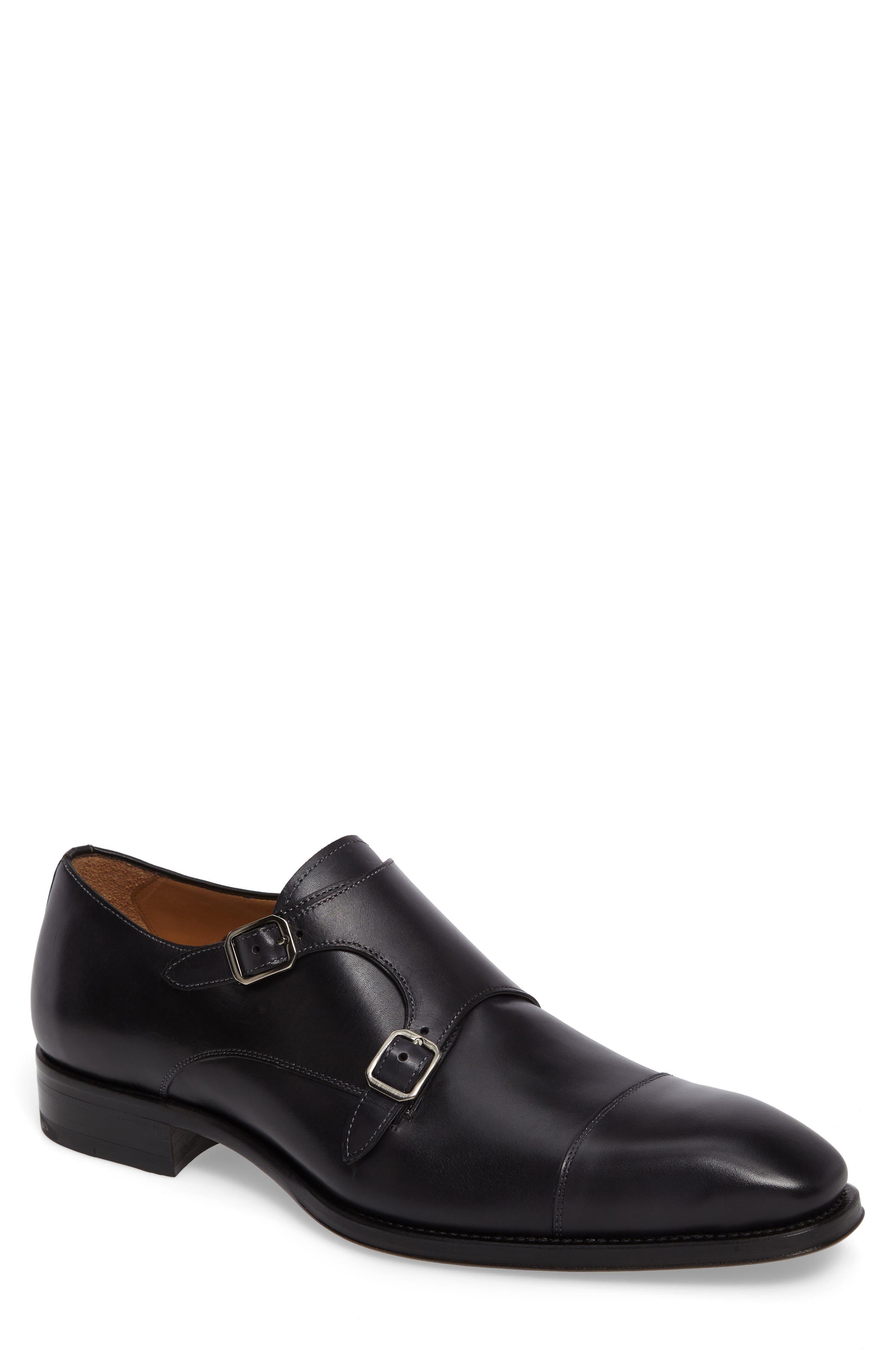 Cajal Double Monk Strap Cap Toe Shoe,                         Main,                         color, 001