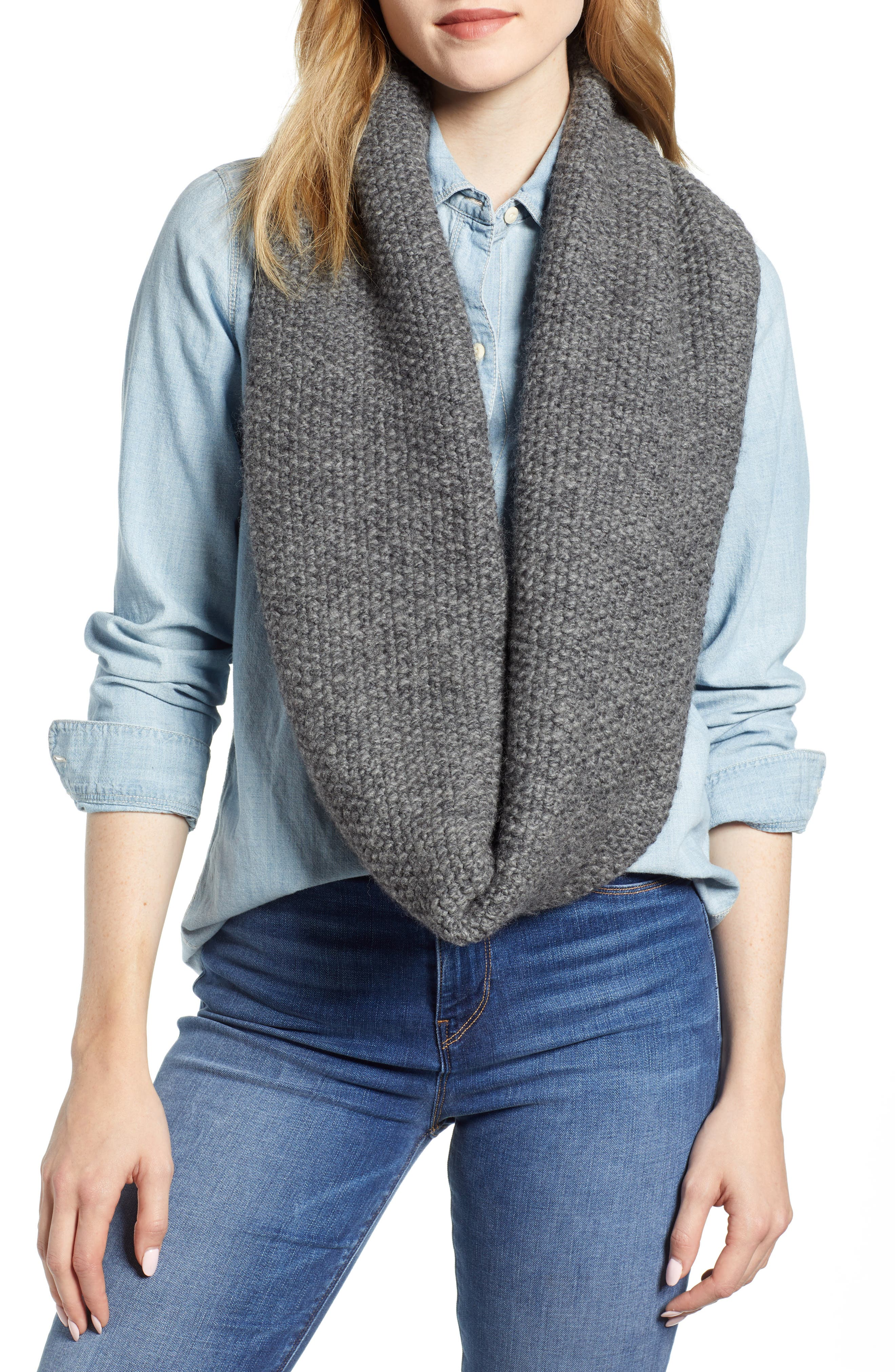Knit Wool Infinity Scarf,                         Main,                         color, CHARCOAL