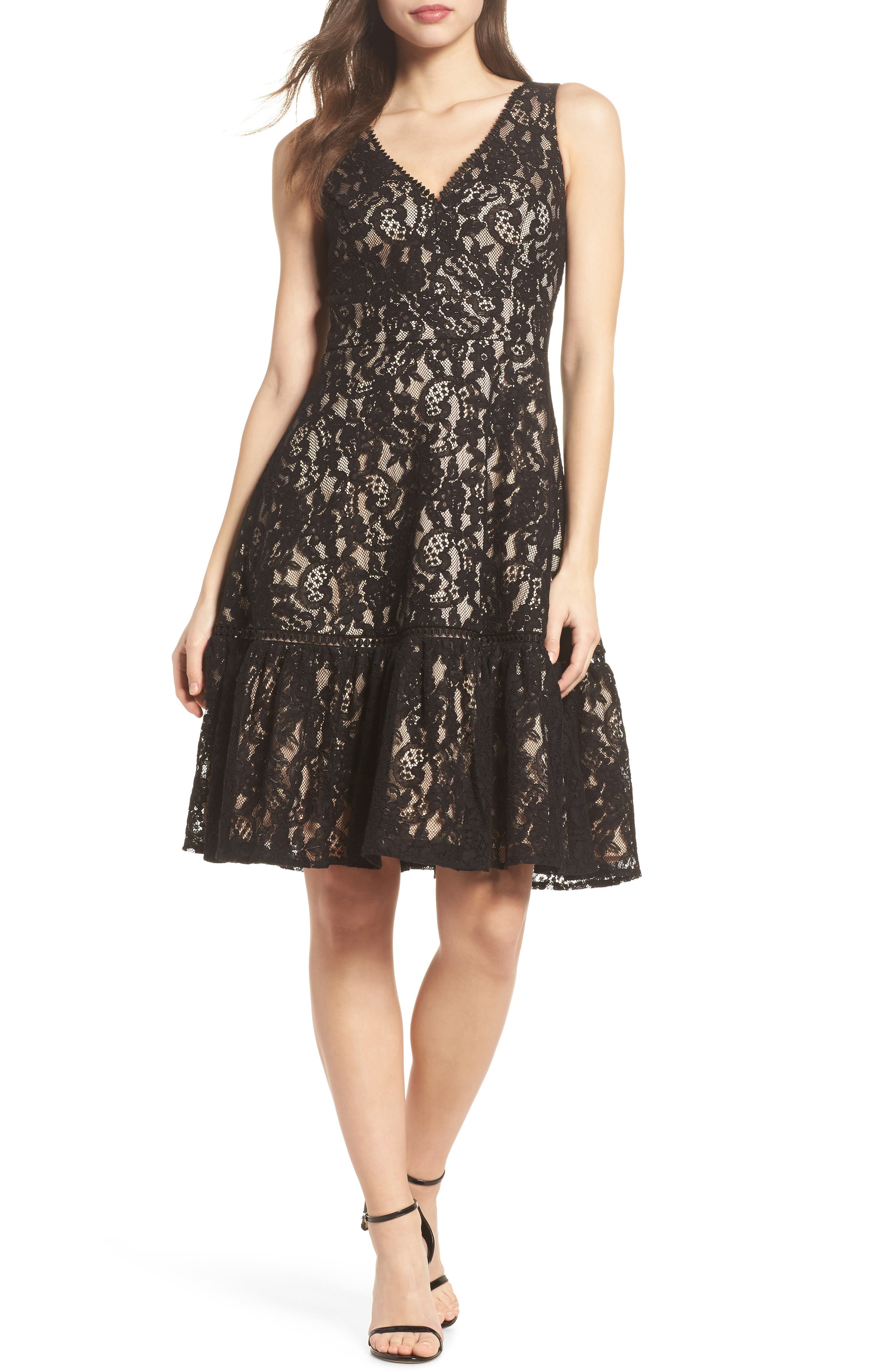 Lace Fit & Flare Dress,                             Main thumbnail 1, color,                             001