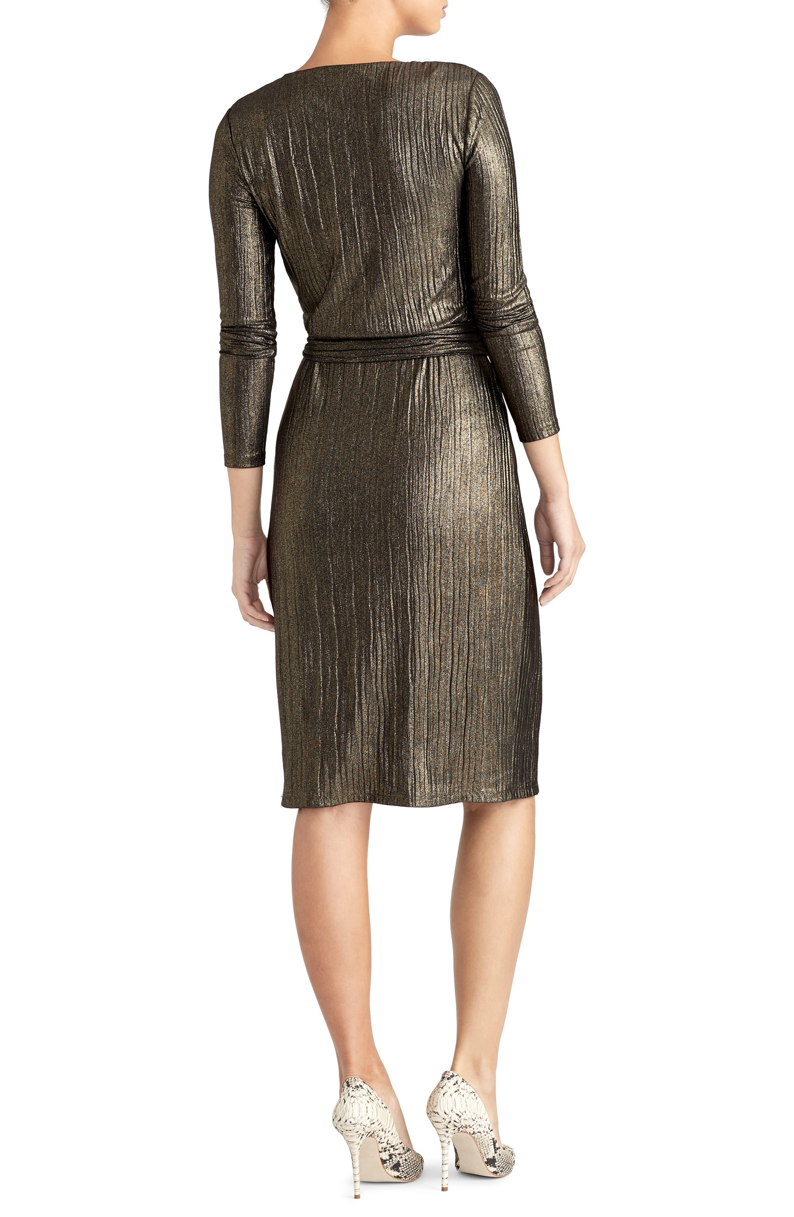 Pleated Metallic Wrap Dress,                             Alternate thumbnail 2, color,                             BLACK/ GOLD