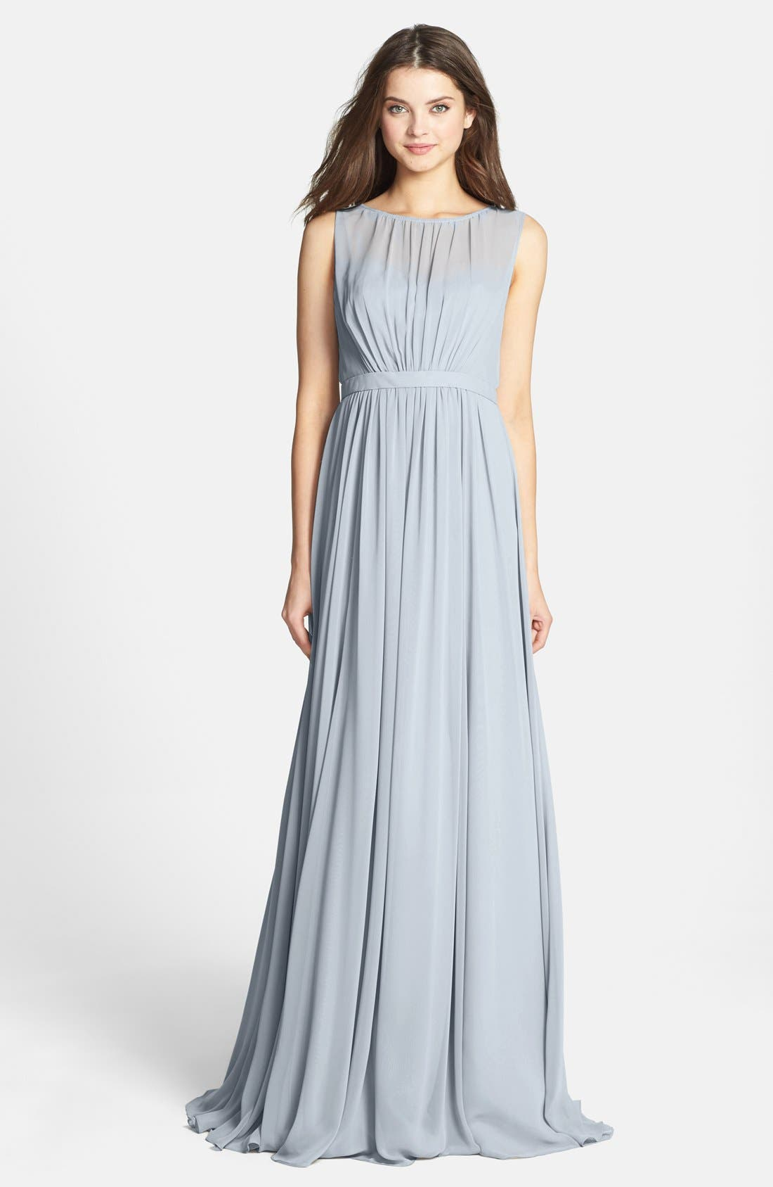 Vivienne Pleated Chiffon Gown,                             Main thumbnail 4, color,